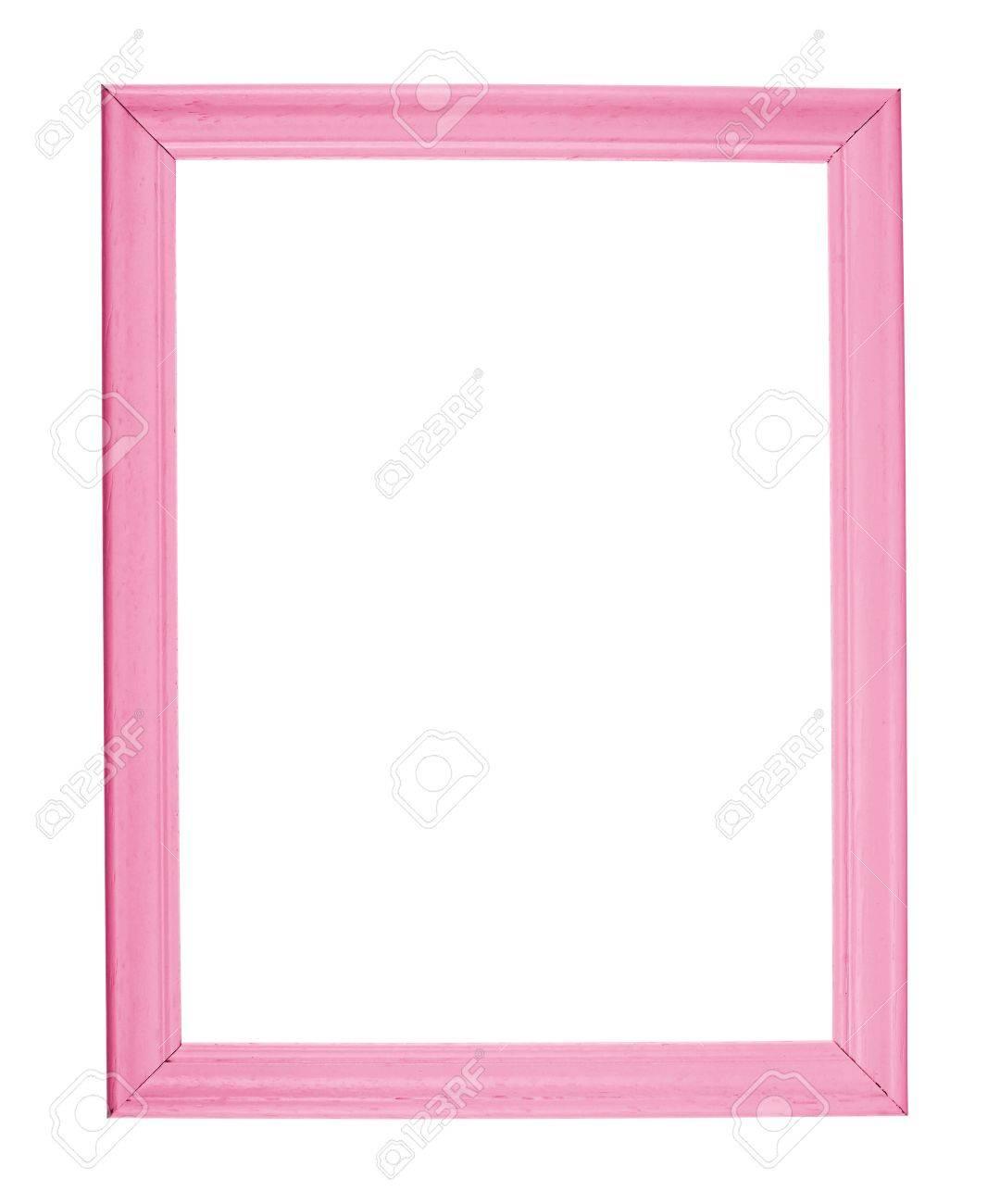 Fotolijst A4 Formaat.A4 Formaat Lege Copyspace Houten Fotolijst Gekleurd Met Roze Verf Geisoleerd Op De Witte Achtergrond