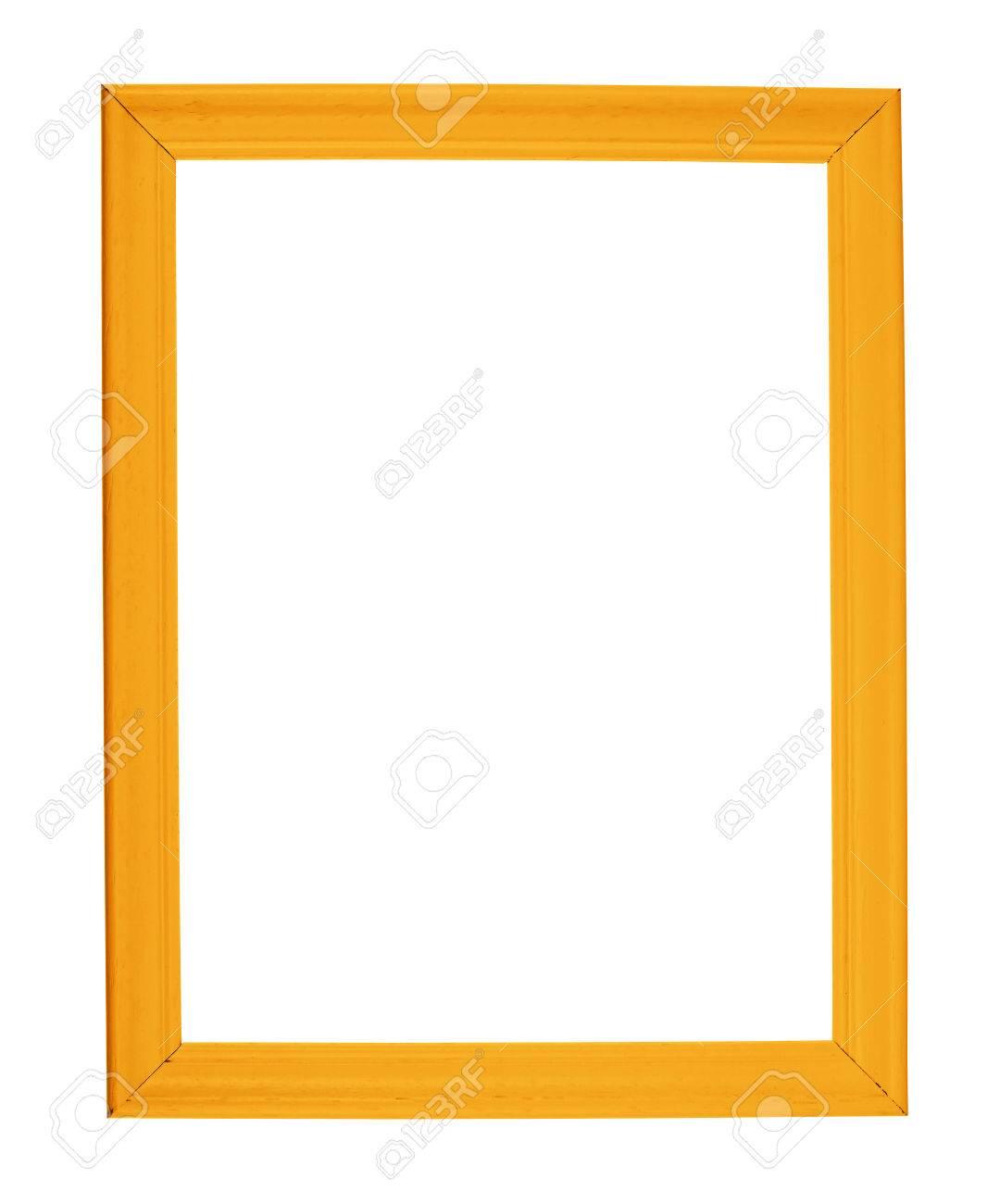 Fotolijst A4 Formaat.A4 Formaat Lege Copyspace Houten Fotolijst Gekleurd Met Oranje Verf Geisoleerd Op De Witte Achtergrond