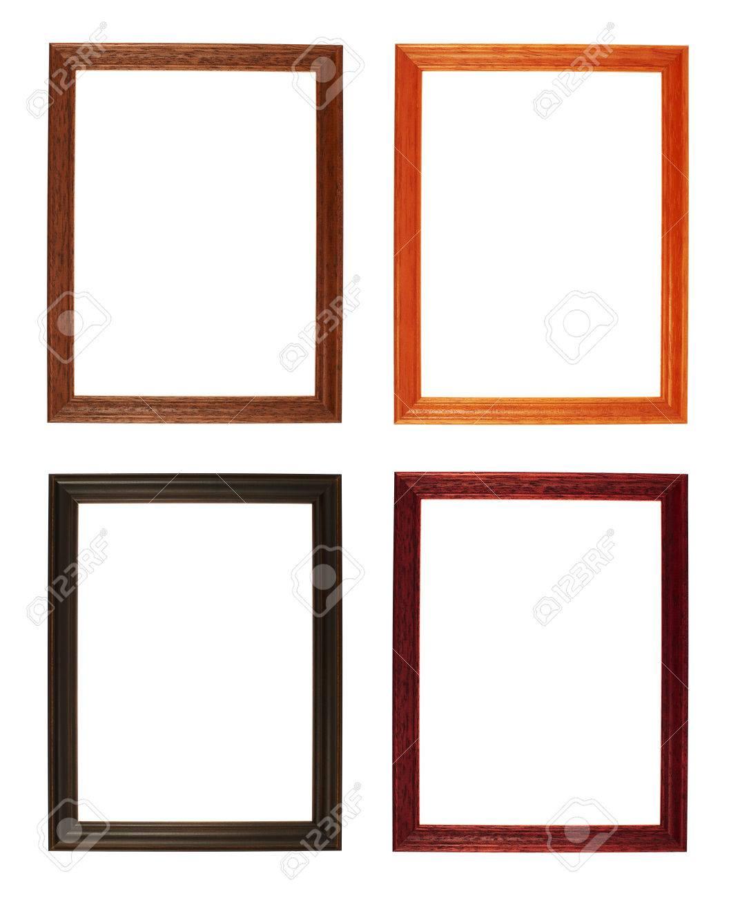 Fotolijst A4 Formaat.A4 Formaat Lege Copyspace Fotolijst Geisoleerd Over De Witte Achtergrond Set Van Vier Verschillende Houtmaterialen