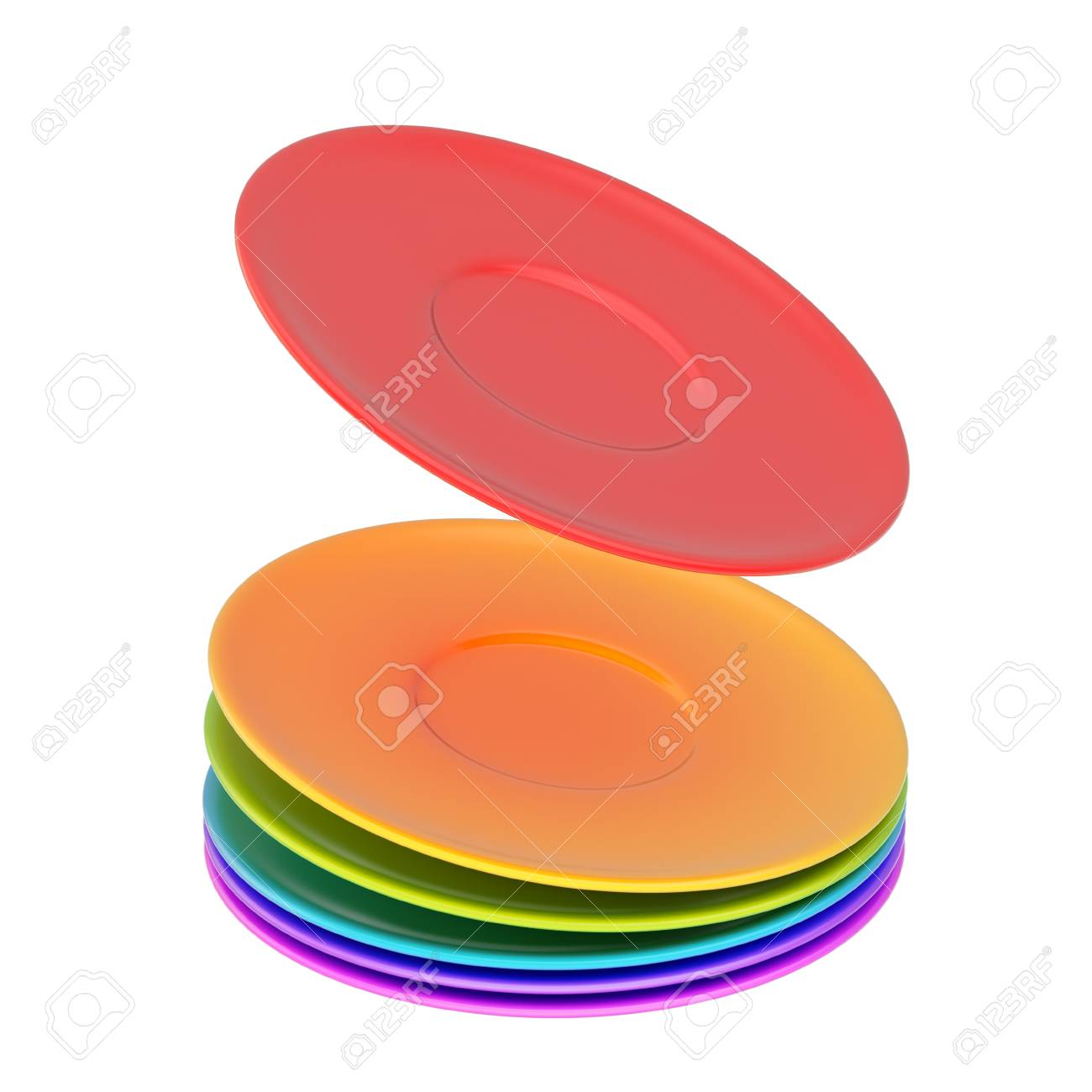 Dynamic pile of colorful ceramic plates isolated over the white background Stock Photo - 28670517  sc 1 st  123RF.com & Dynamic Pile Of Colorful Ceramic Plates Isolated Over The White ...