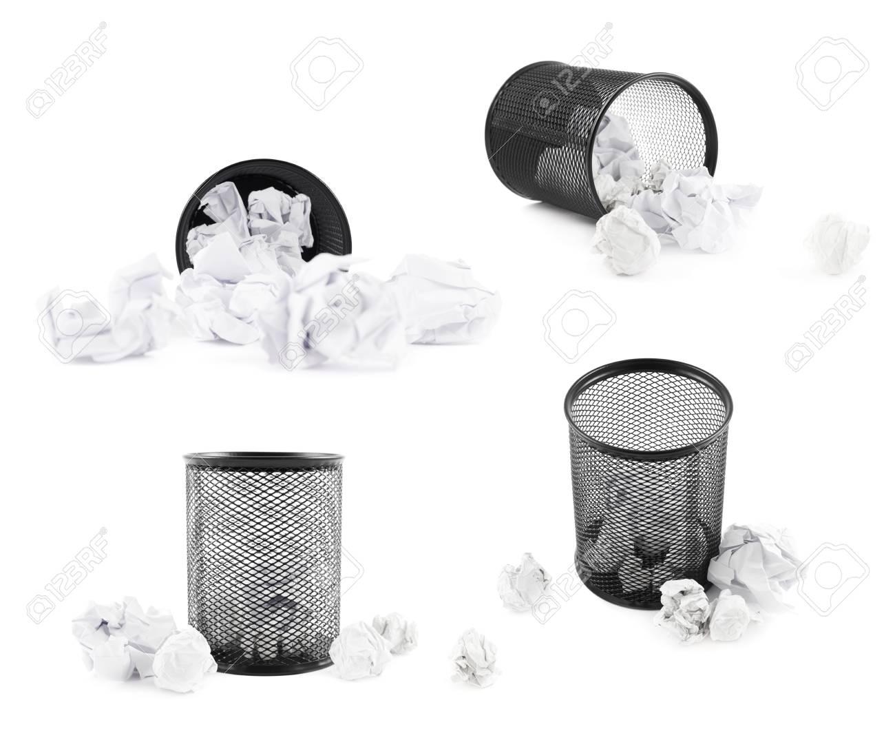 Le papier de bureau poubelle noir bin isolé sur le fond blanc un