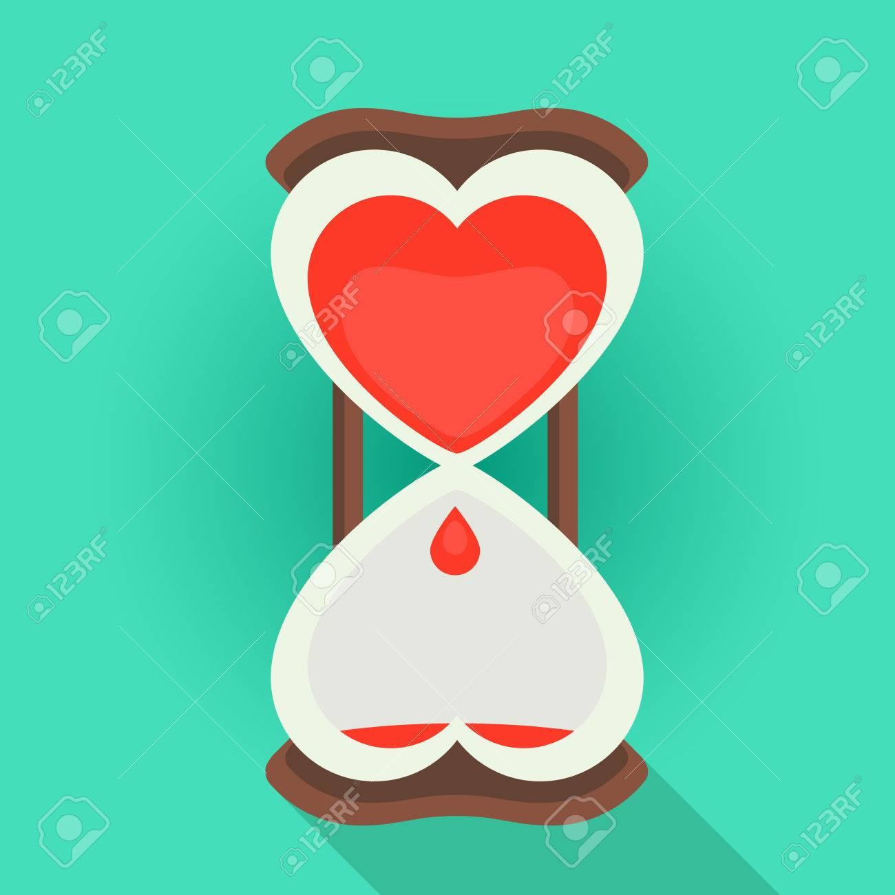 Tiempo Estilo Arena El Reloj Del Vectorial Amor Pasar Sangrado En Con De Relojes La Corazón Forma Interior Ilustración Plano Un 4AjRL5