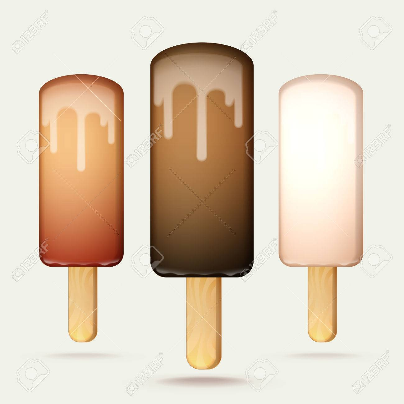 Melting Ice Cream Bar On A Wooden Stick, Set Of Three Types Of ...