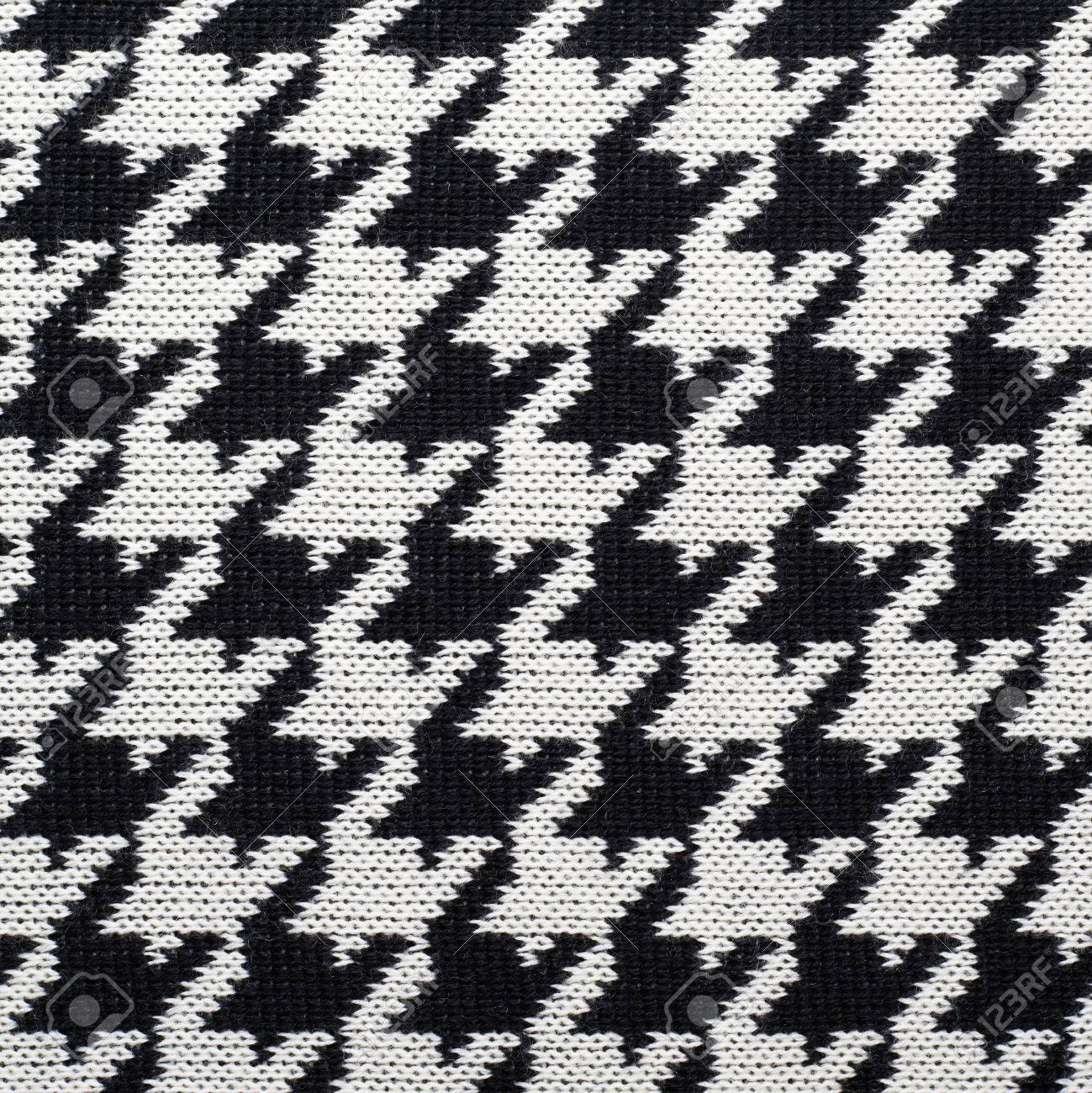 Black And White Knitted Houndstooth Pattern Cloth Material Fragment ...