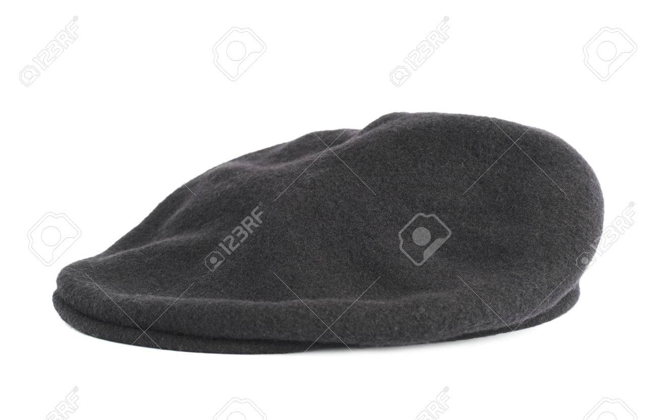 716b6a6ac80f3 Black woven beret flat-crowned hat isolated over the white background Stock  Photo - 33202488