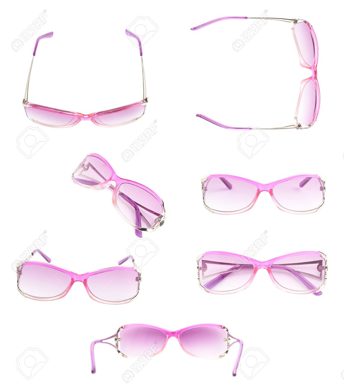 0d2fae64e724 Pair of stylish pink female glasses isolated over the white background