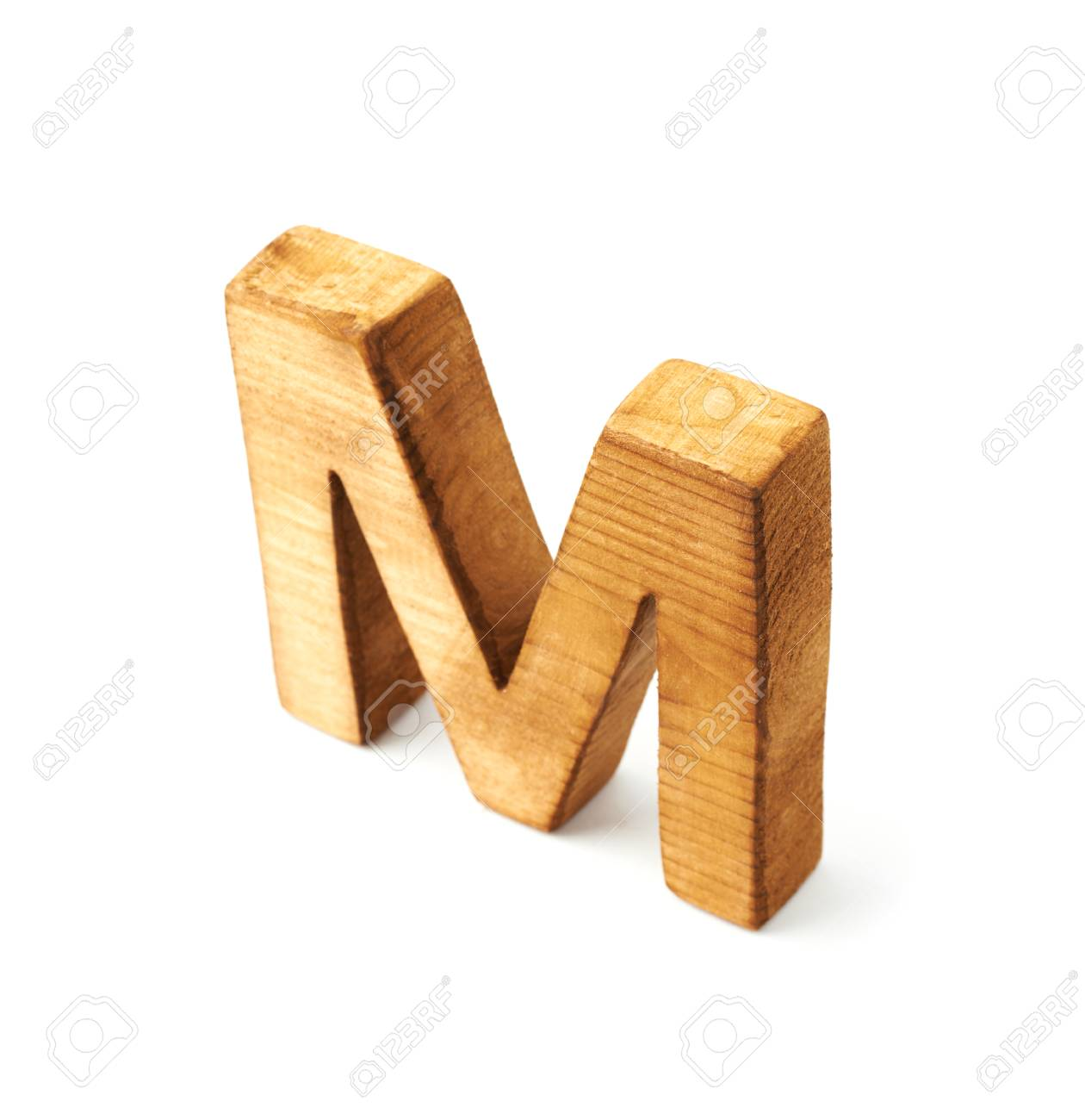 single capital block wooden letter m isolated over the white background stock photo 35791809