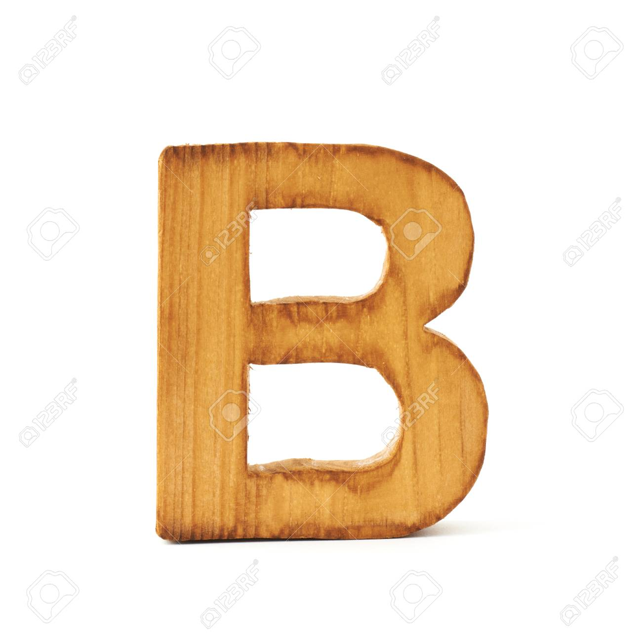 Single capital block wooden letter B isolated over the white