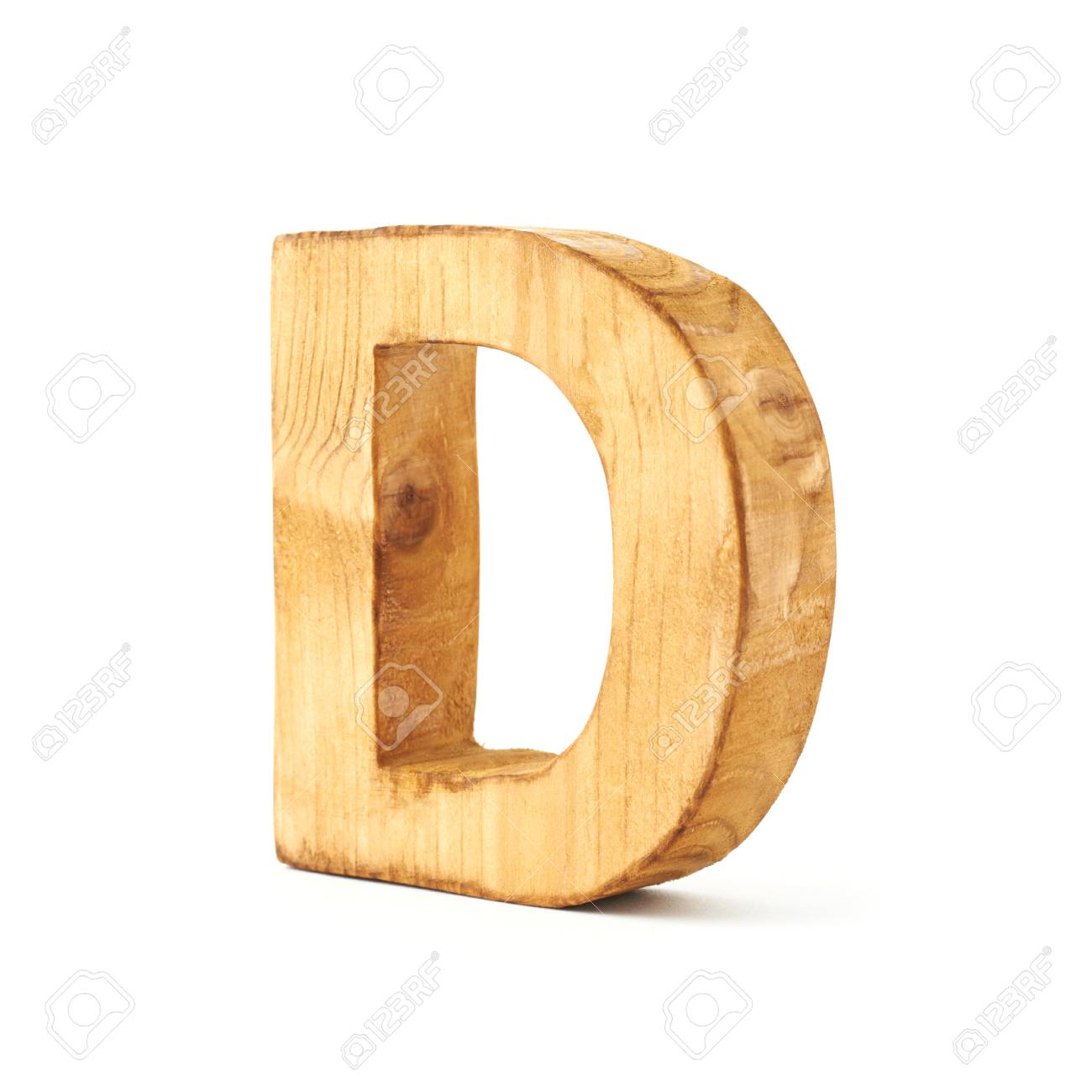 Single Capital Block Wooden Letter D Isolated Over The White
