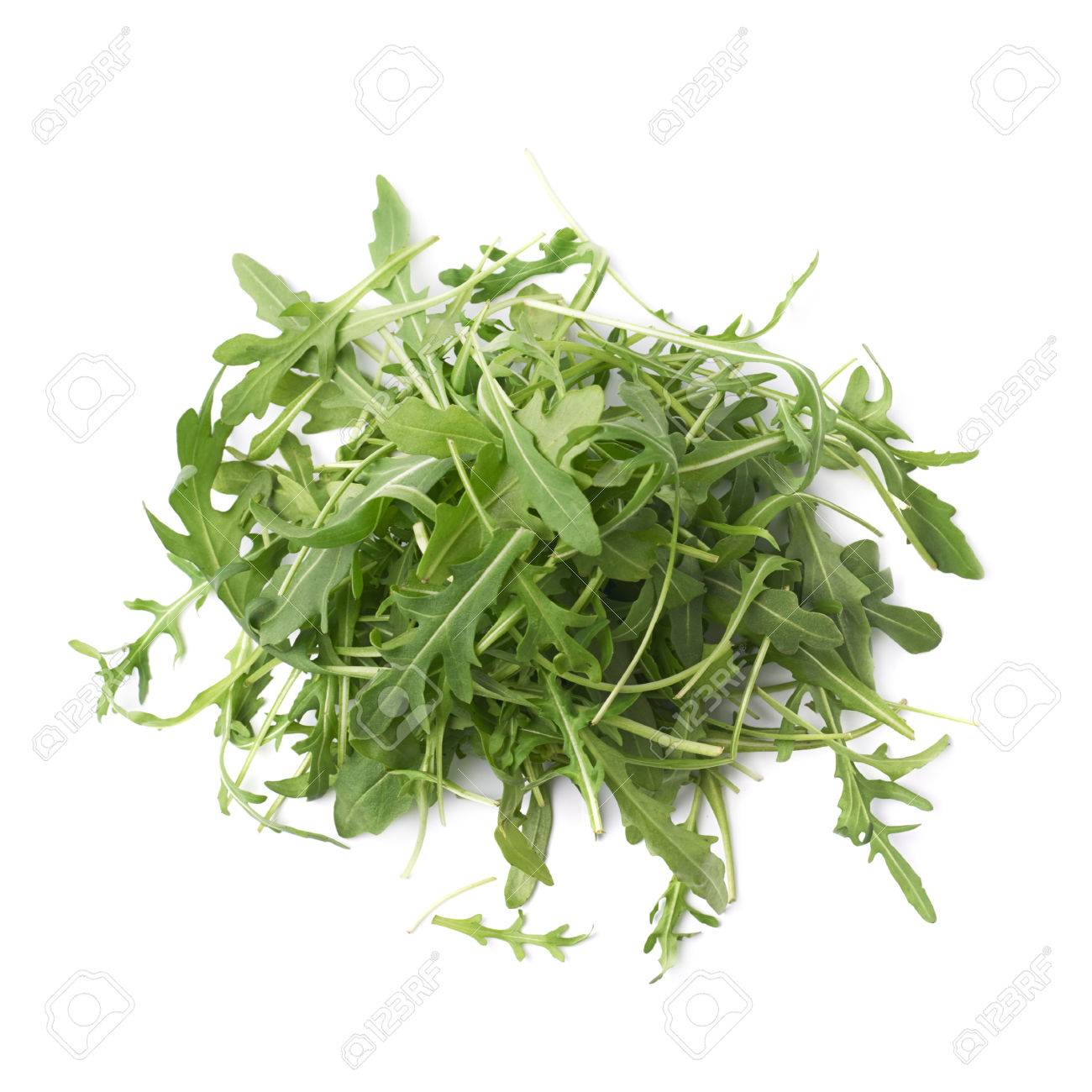Pile Of Eruca Sativa Rucola Arugula Fresh Green Rocket Salad Leaves Composition Isolated Over The