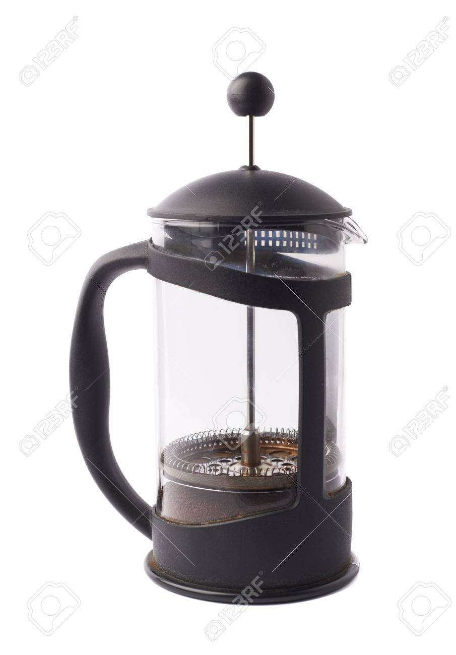 French Press Pot Coffee Maker Filled With The Ground Coffee Stock