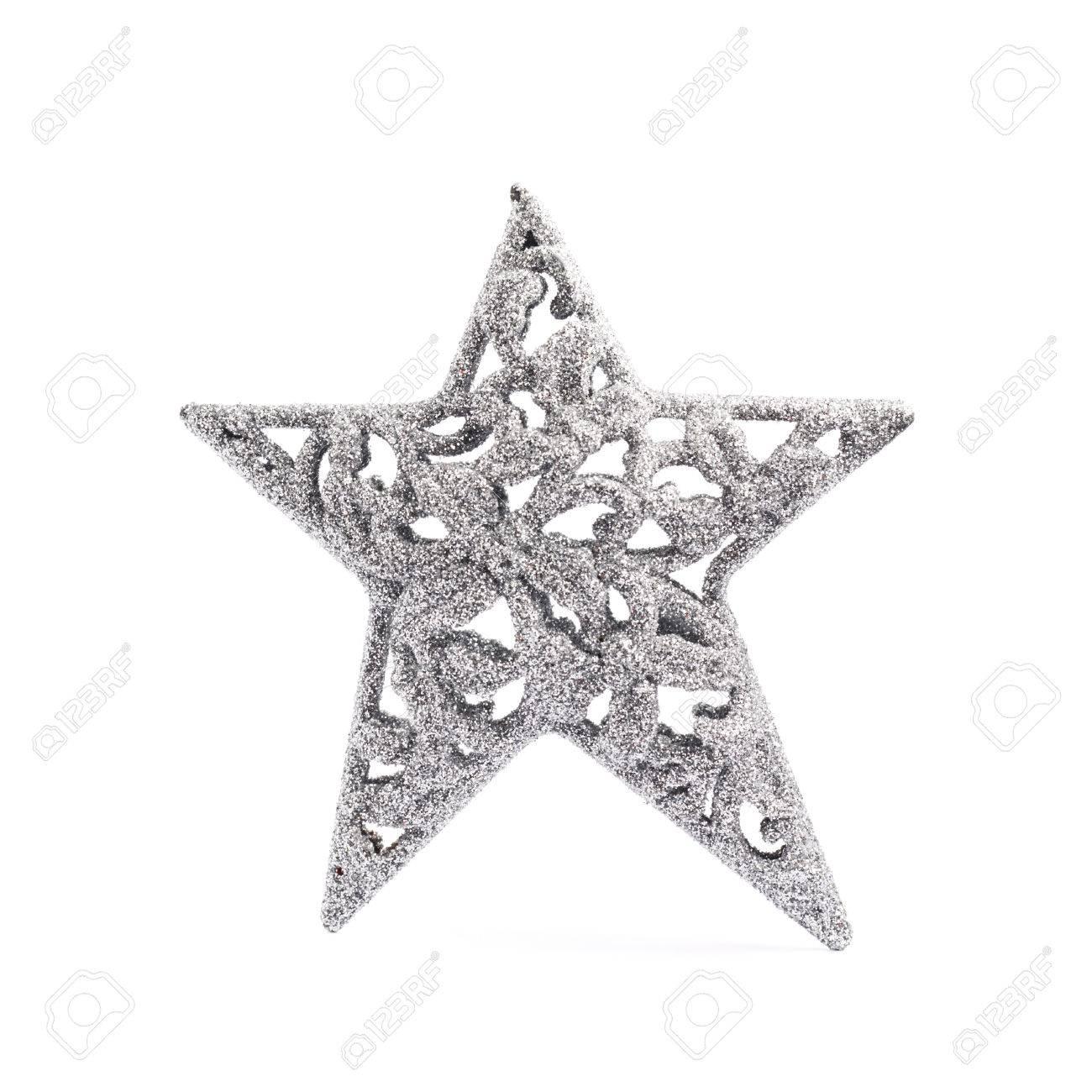 Weihnachten Silber Sterndekoration Stück Isoliert über Dem Weißen ...