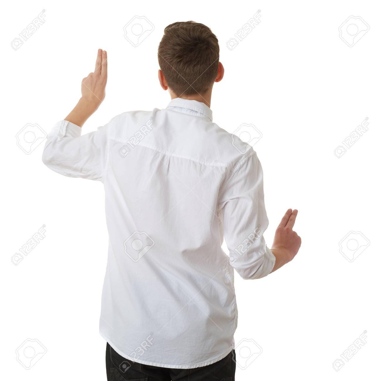 Netter Jugendlichjunge Im Weißen Hemd Und In Der Schwarzen Fliege ...