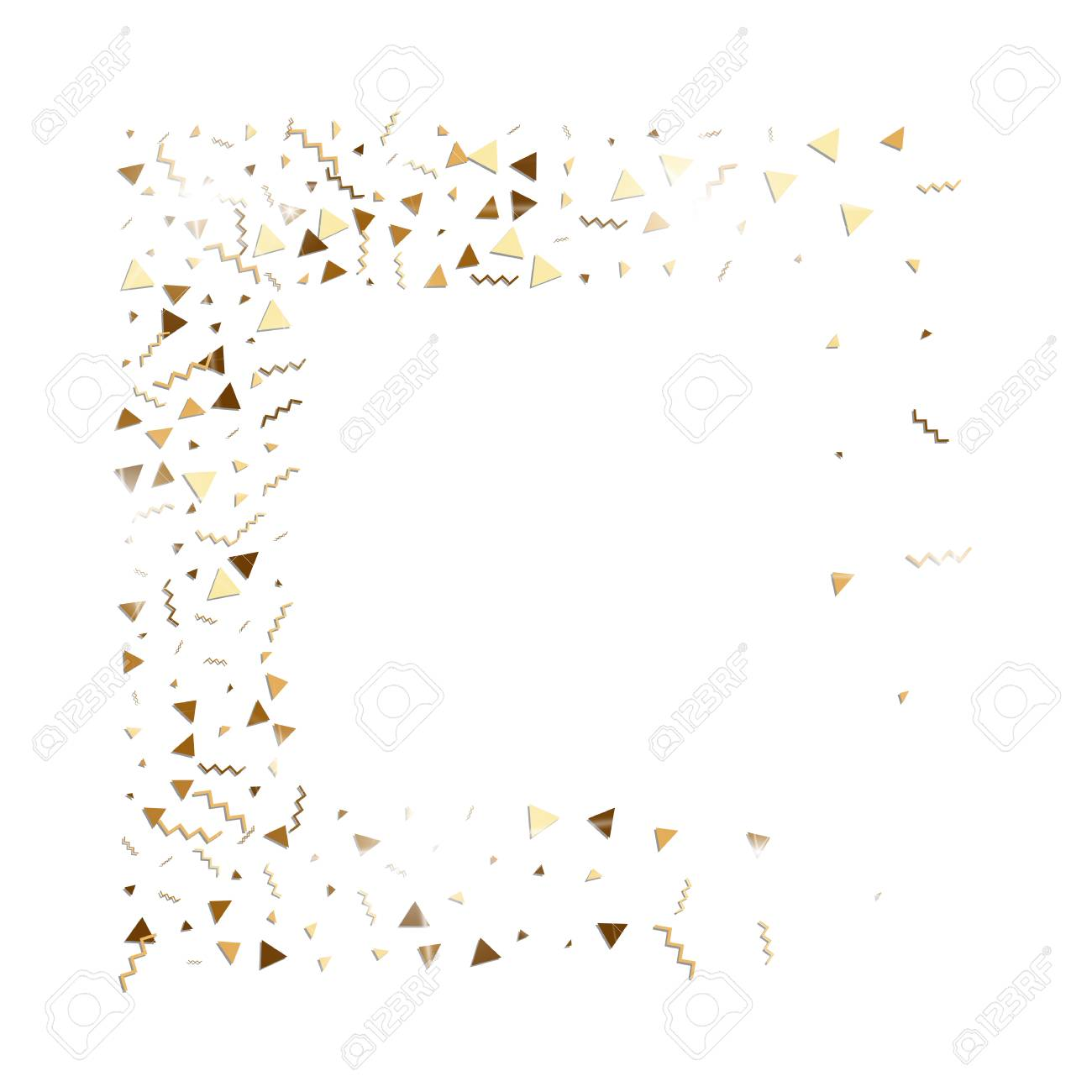Glitter Gold Confetti Isolated Vector Triangle Particles And