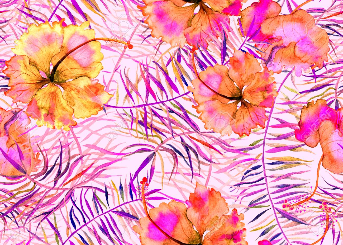 Hibiscus Pattern Watercolor Tropical Background Exotic Seamless
