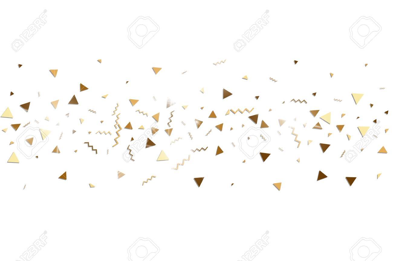 Glitter Gouden Confetti Geisoleerde Vector Driehoeksdeeltjes En