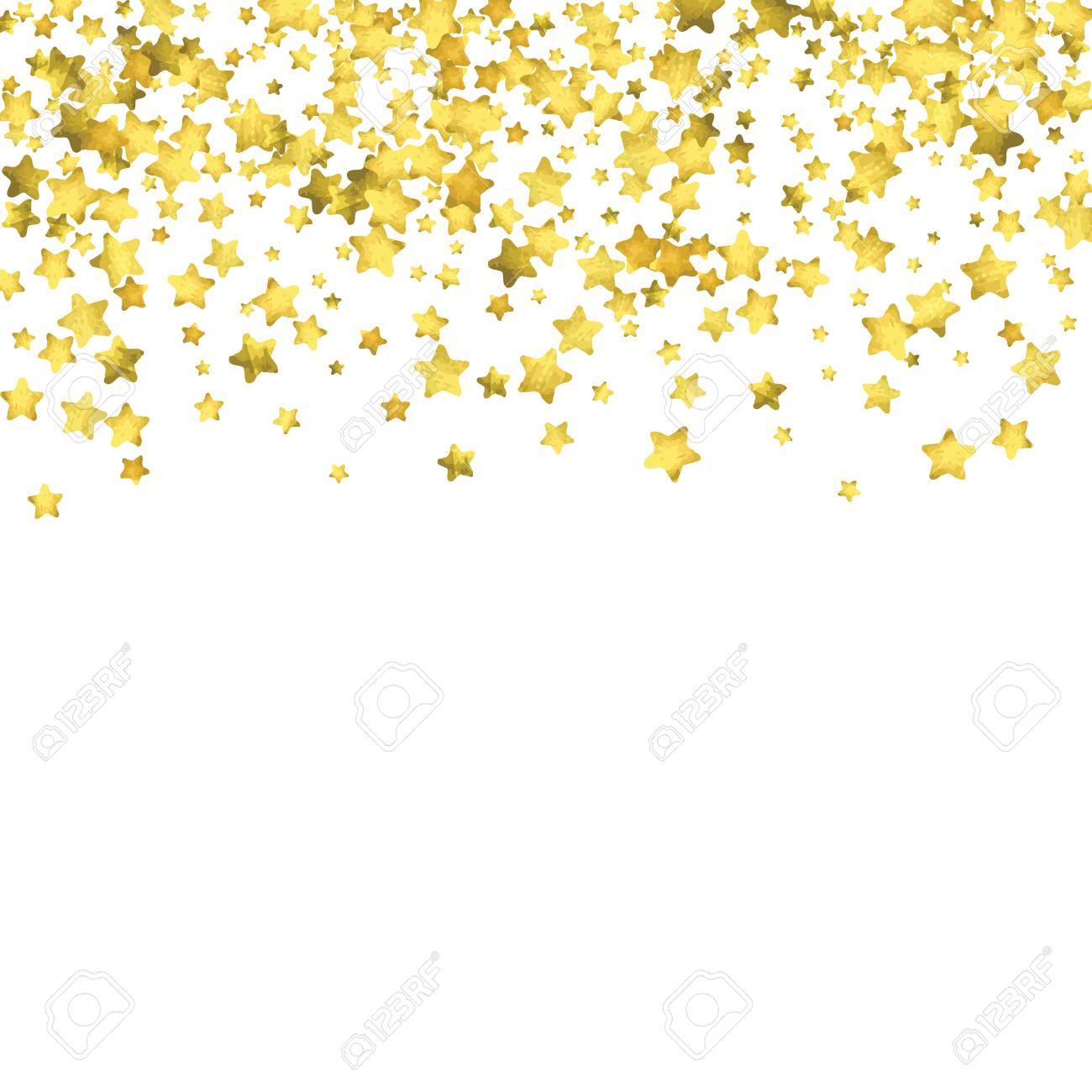 Star Confetti Gold Random Background Bright Design