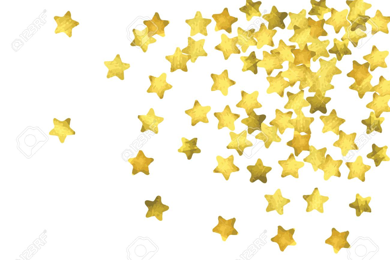Star confetti gold random confetti background bright design bright design template vector white and yellow cover template birthday or wedding invitation template abstract card for gifts 2018 new year greeting stopboris Image collections