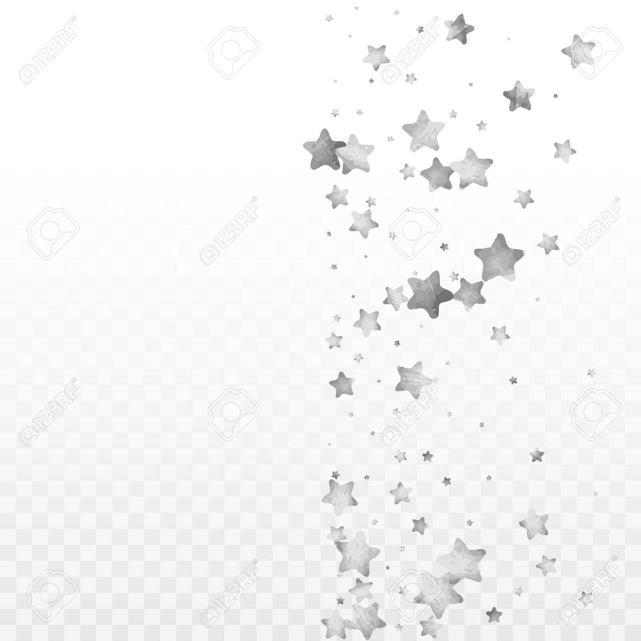 Star Silver Confetti. Glitter Vector Celebrate Background. Silver Sparkles  And Dots On Black Backdrop