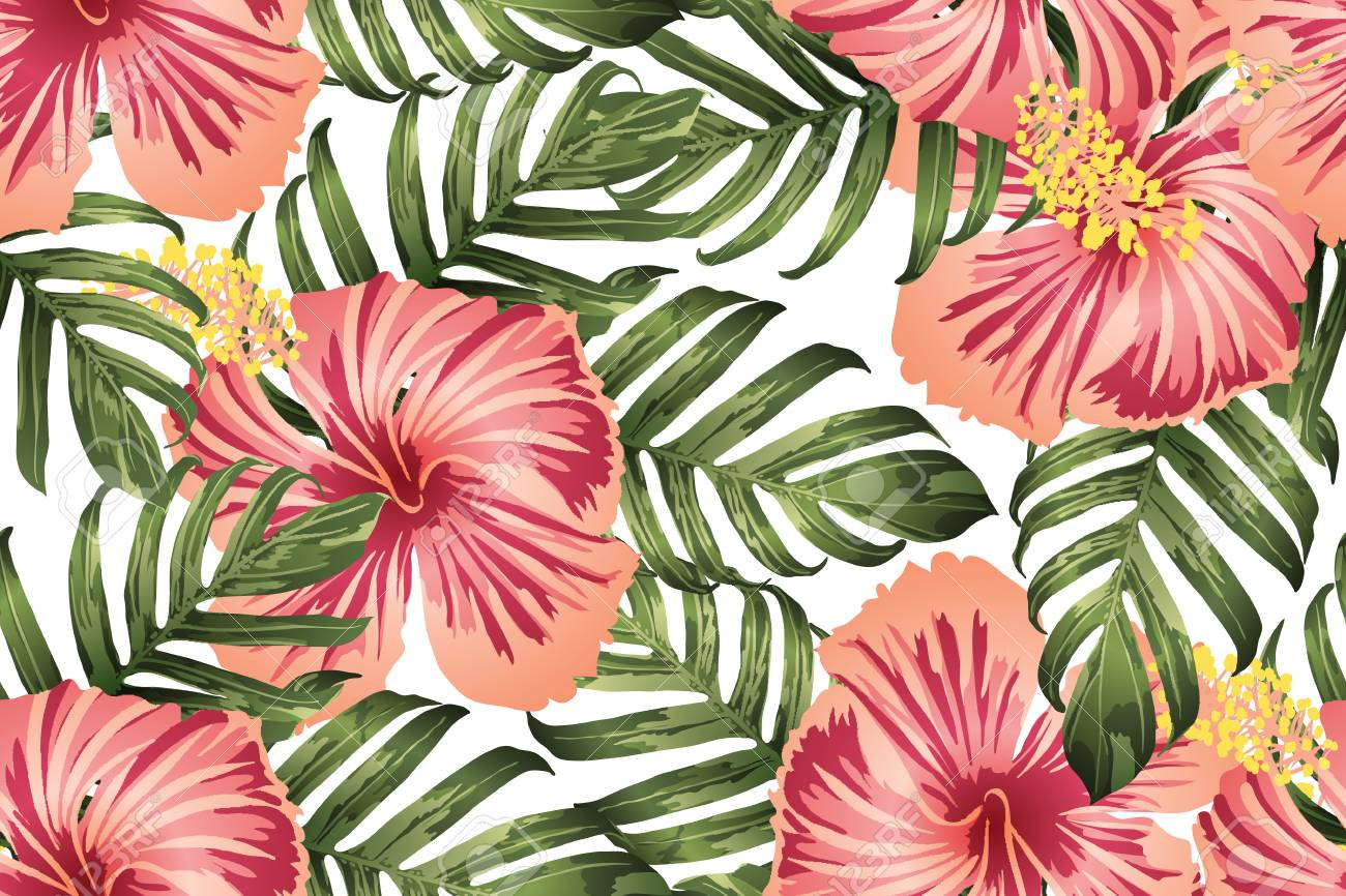 Green Red Exotic Pattern Monstera Leaves And Hibiscus Flowers