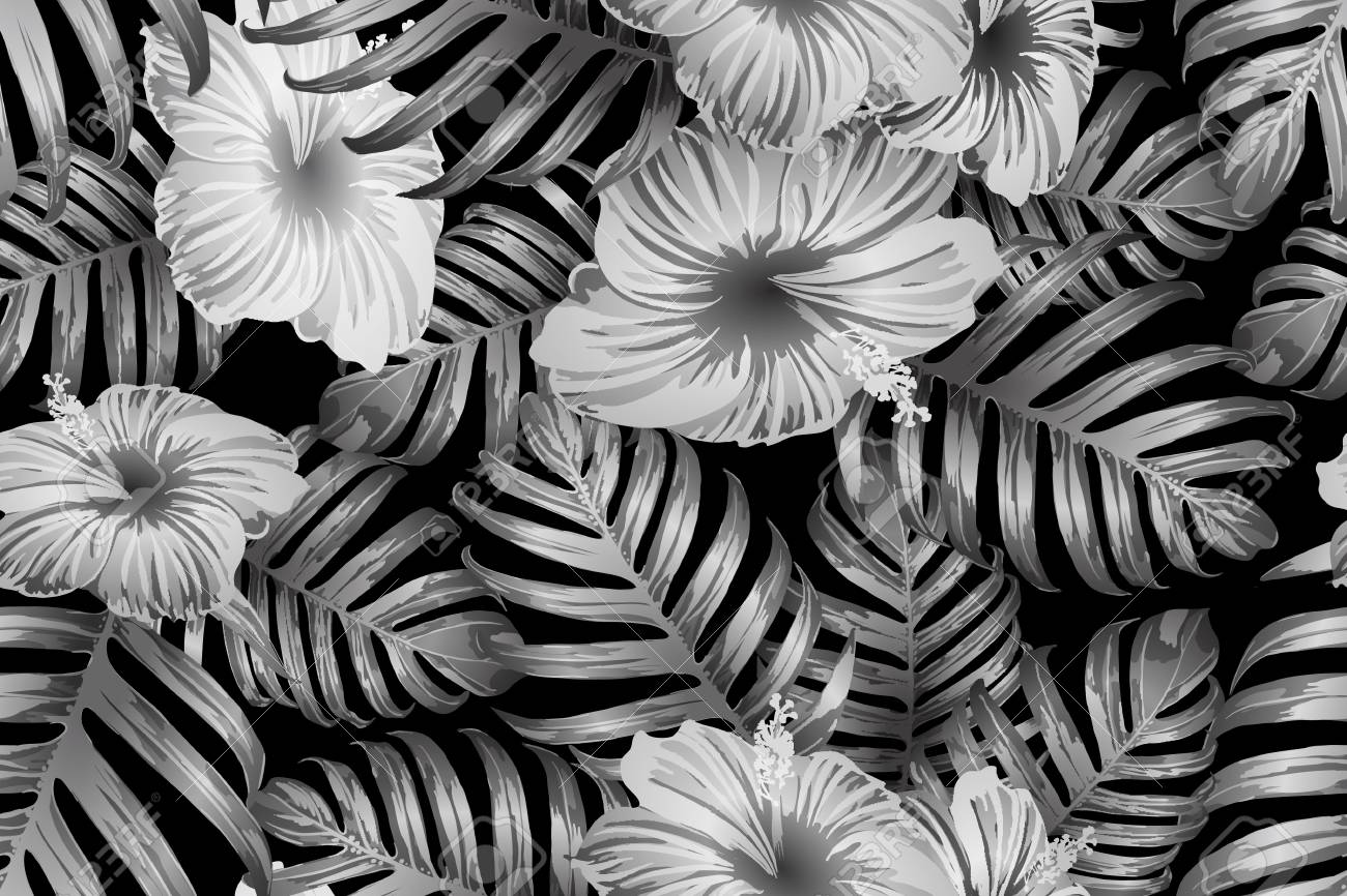 Black white exotic pattern monstera and hibiscus flowers tropical