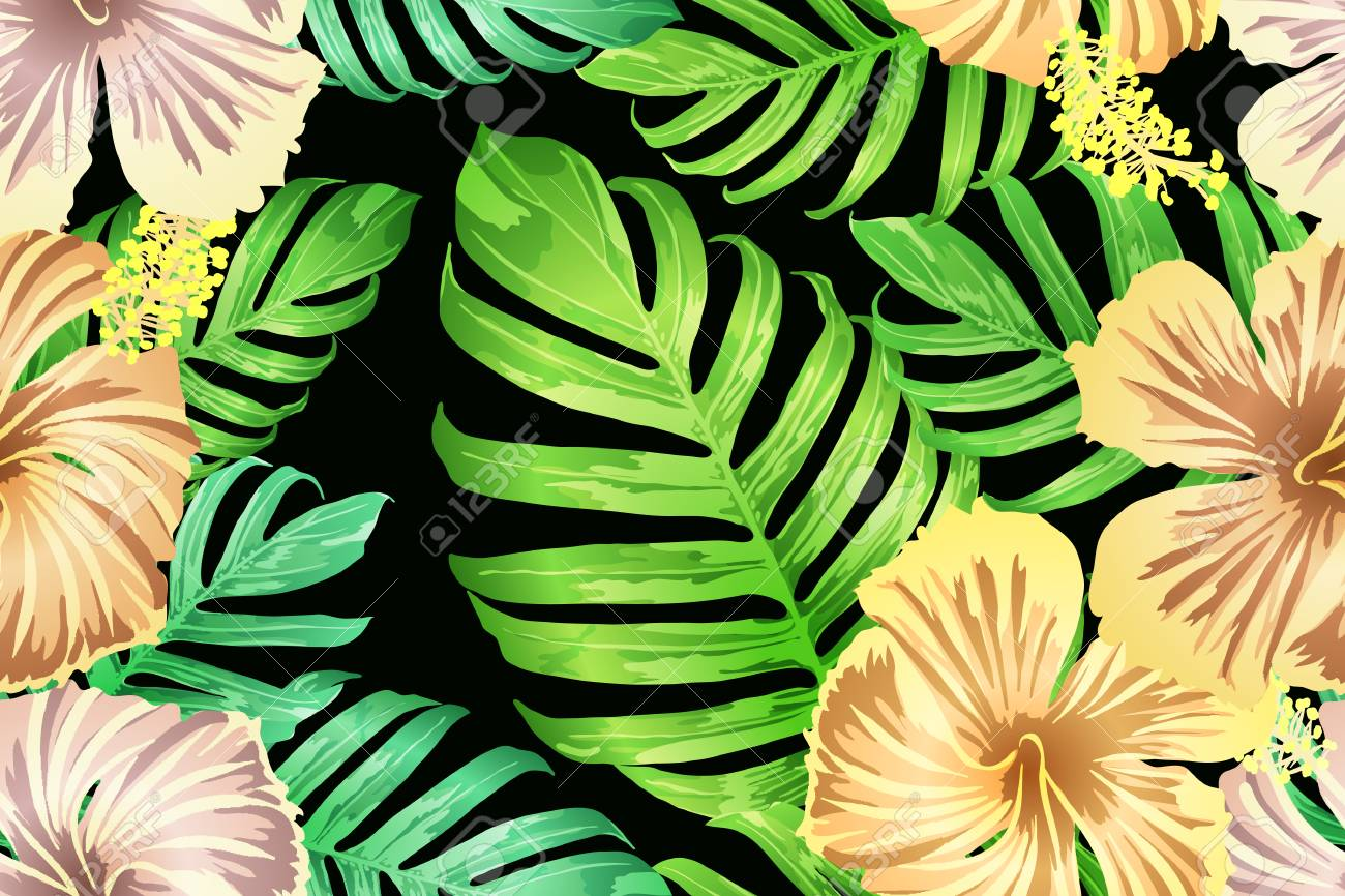 Green Yellow Exotic Pattern Monstera And Hibiscus Flowers Tropical