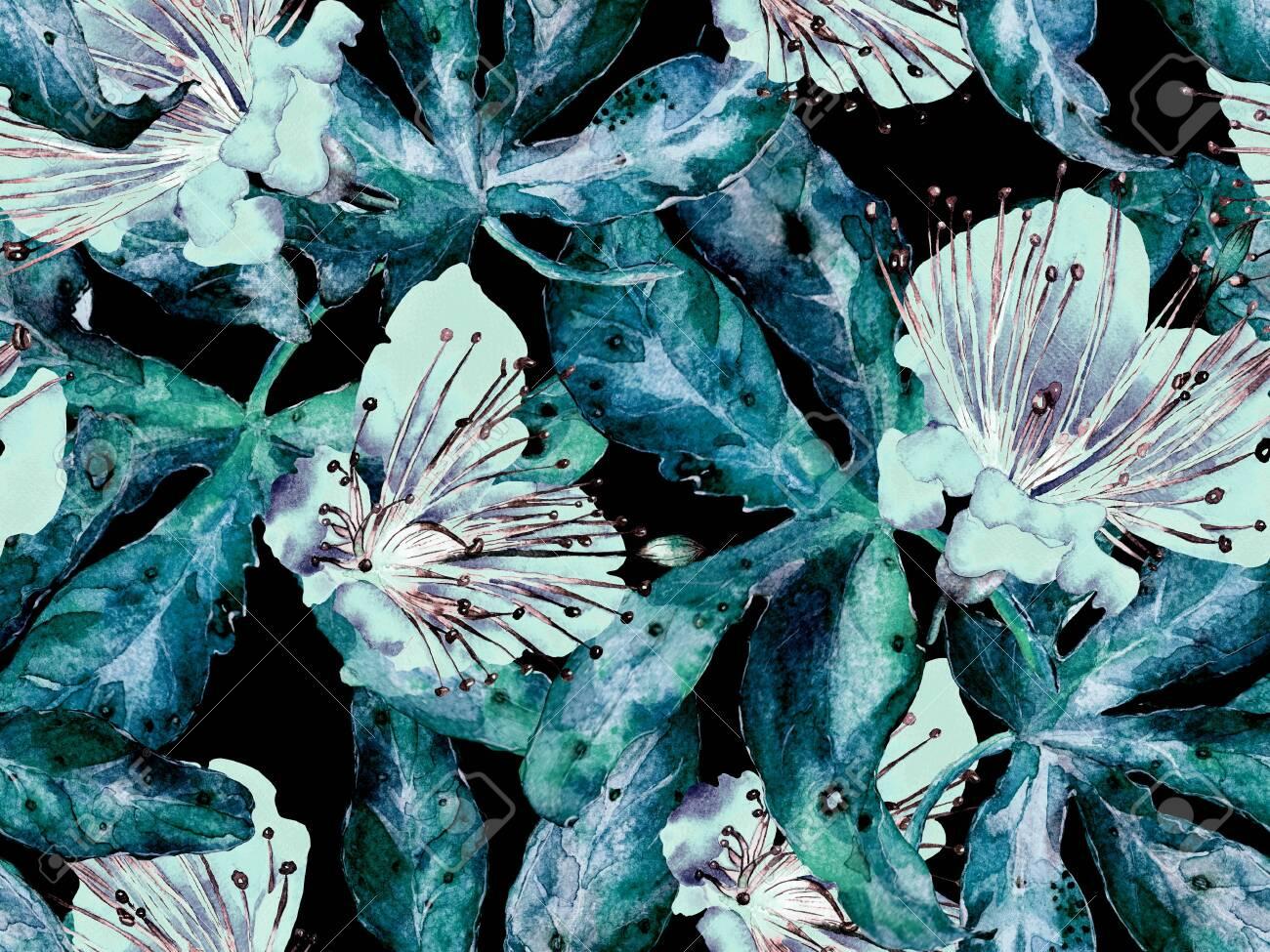 Bold Floral Pattern Big Hawaiian Seamless Print On Green Blue