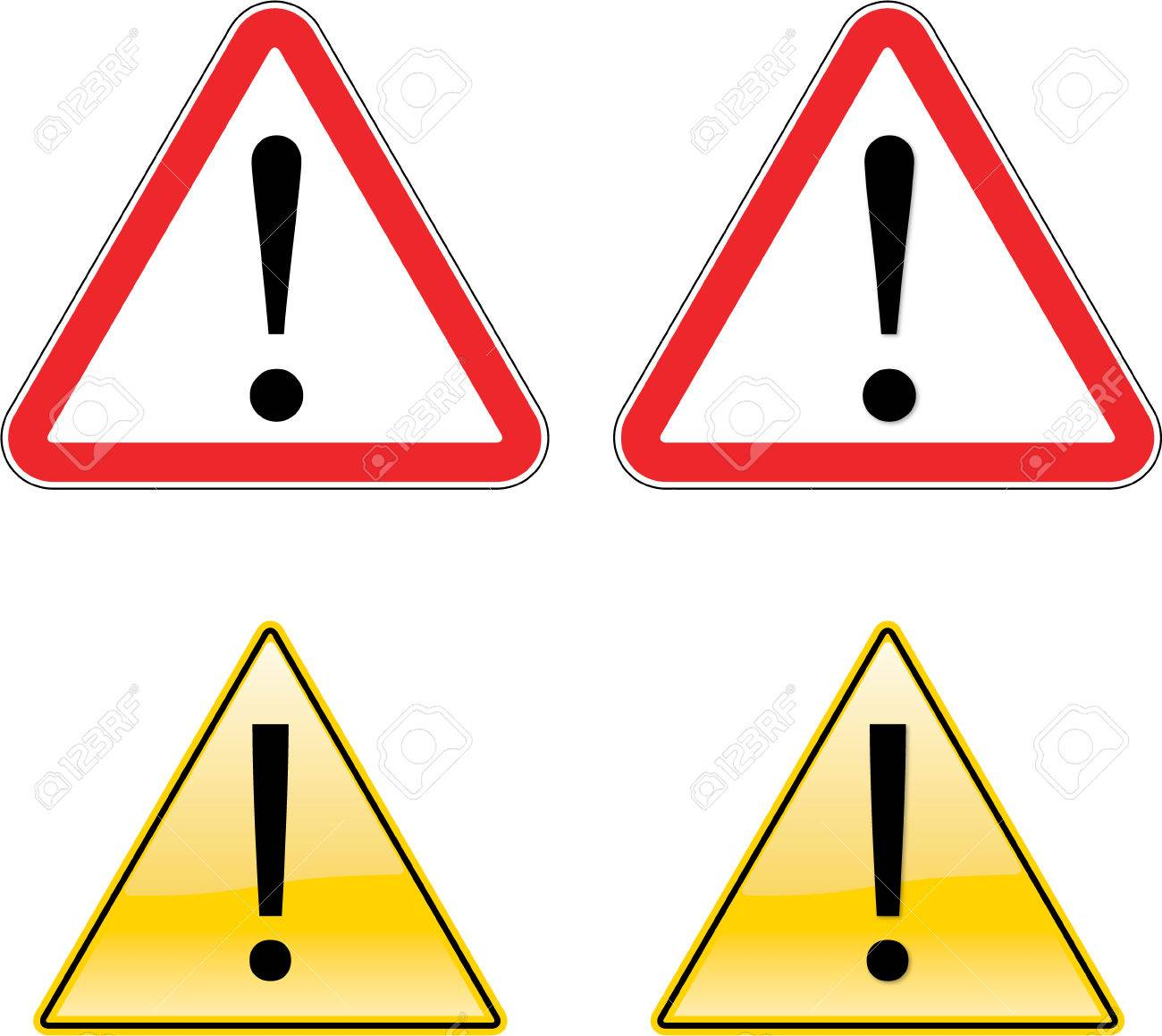 Warning Exclamation Label Sign Symbol on yellow background with black only Stock Vector - 5776141