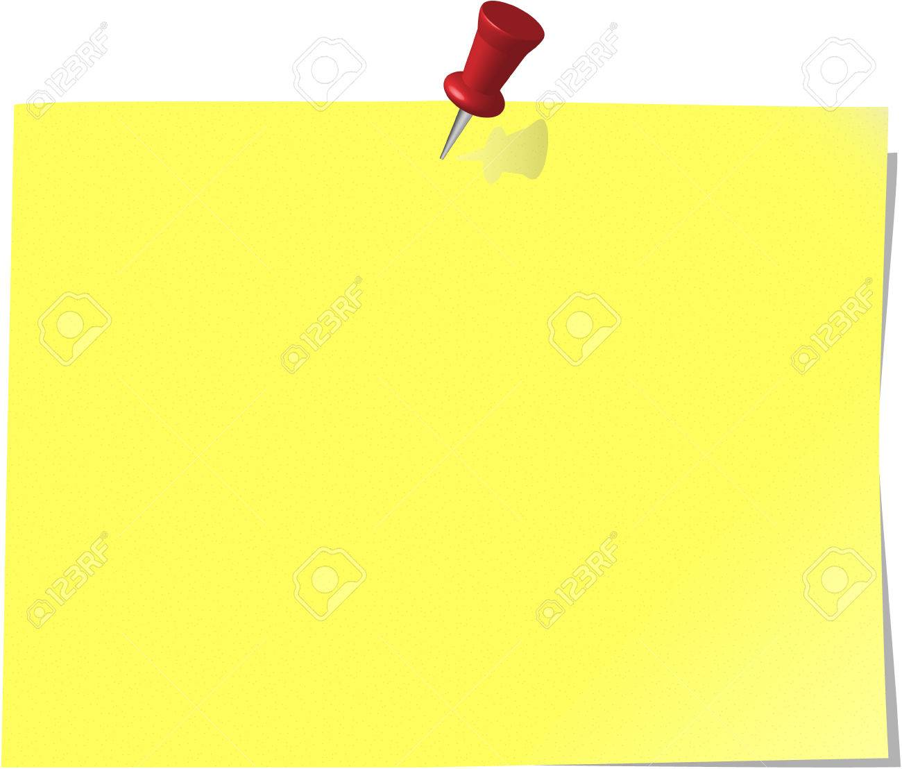 pinned note paper, canary yellow Stock Vector - 6081287