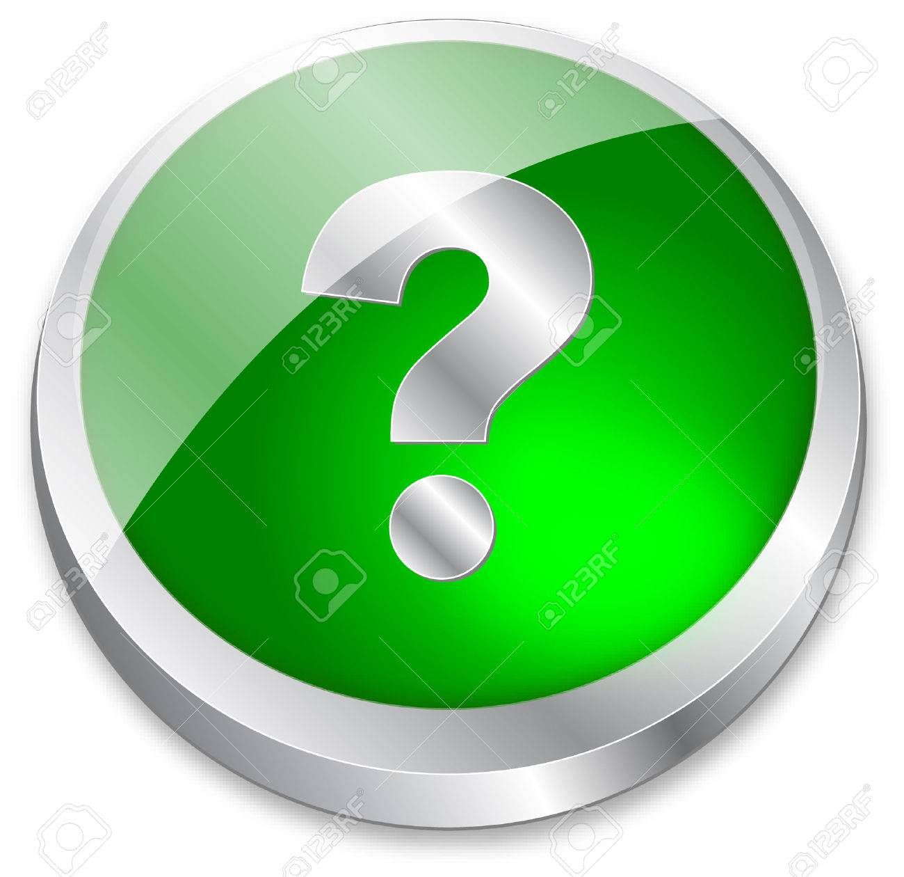 3d question mark button on green and metallic silver Stock Vector - 6095999