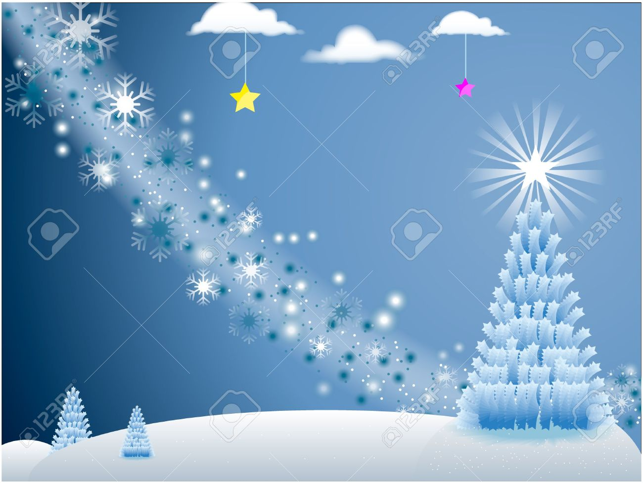 White Holiday Scene With Snowflakes And Christmas Tree With Stars ...