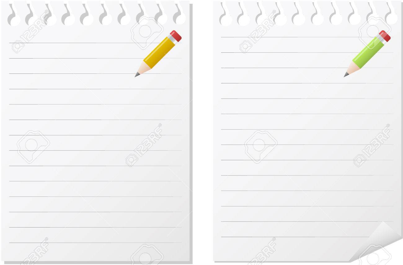 two note pads in white paper with lines and  pencils Stock Vector - 6430420
