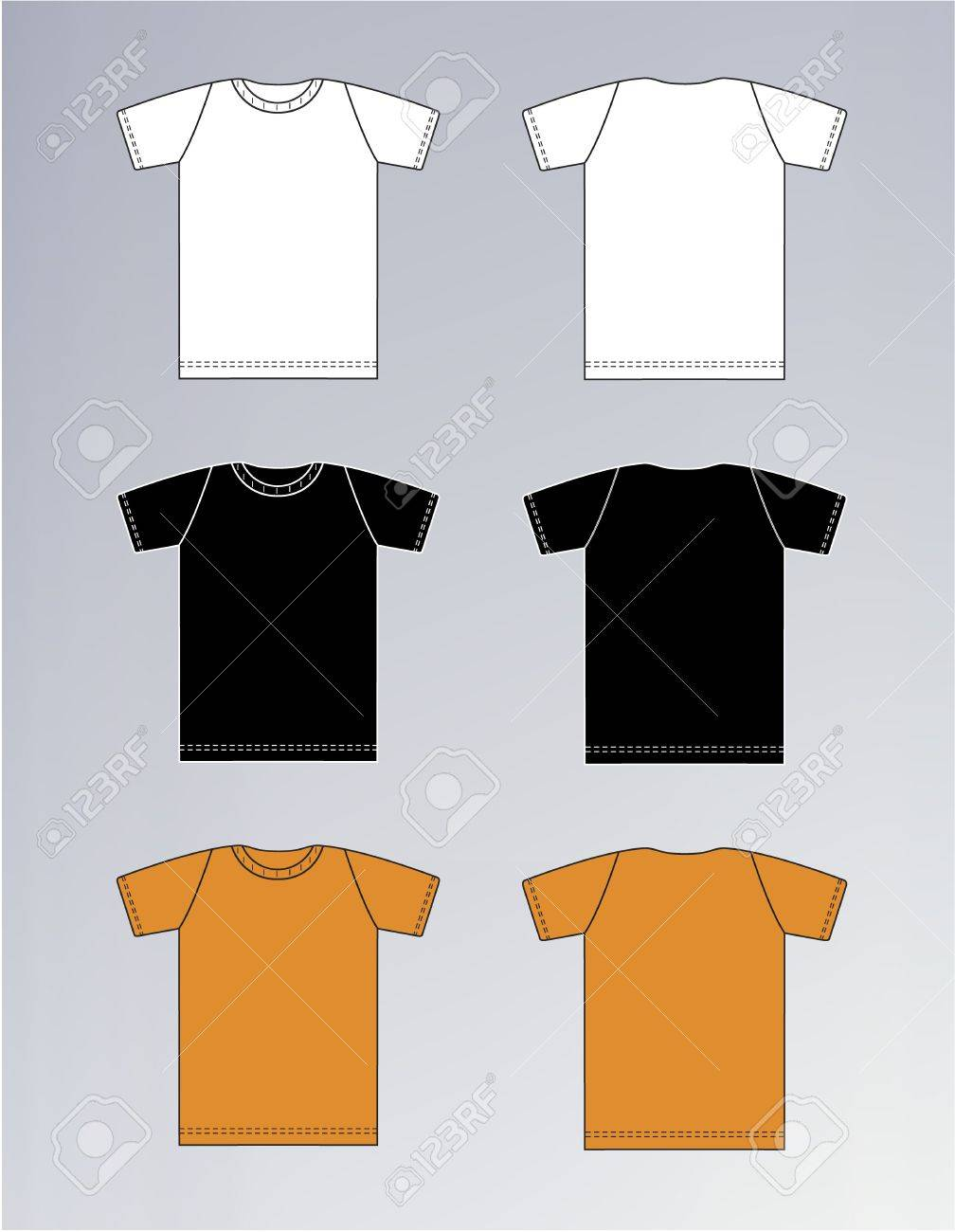 White t shirt front and back template - White Black Orange T Shirt Design Templates Front Back Stock