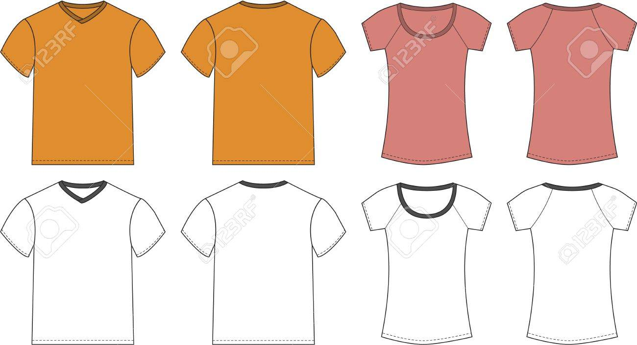White t shirt front and back template - White Pink Orange T Shirt Design Templates Front Back Stock