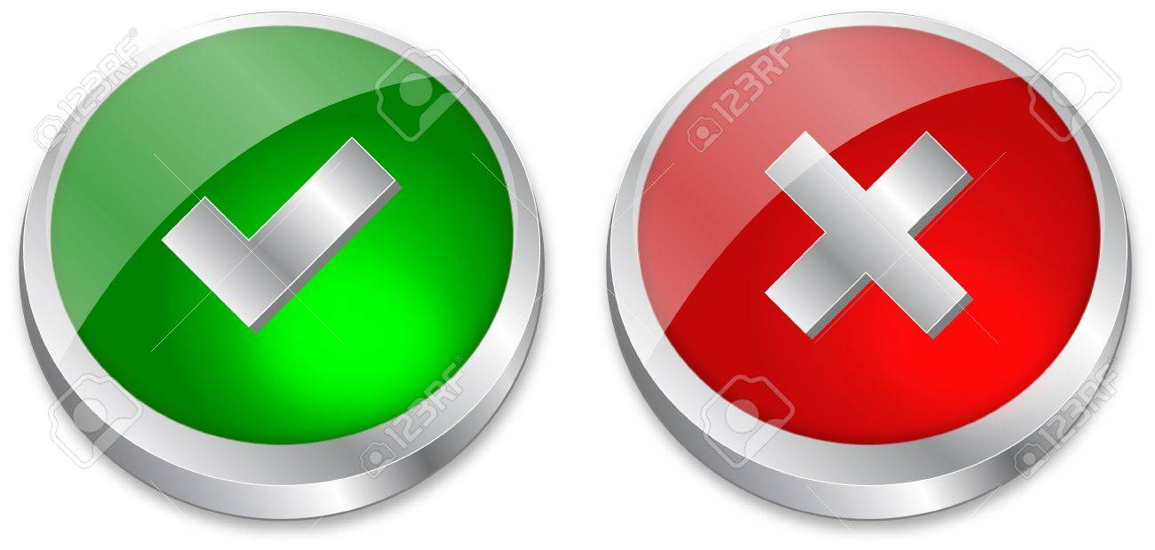 Tick and Cross buttons in green and red colors Stock Vector - 6882856
