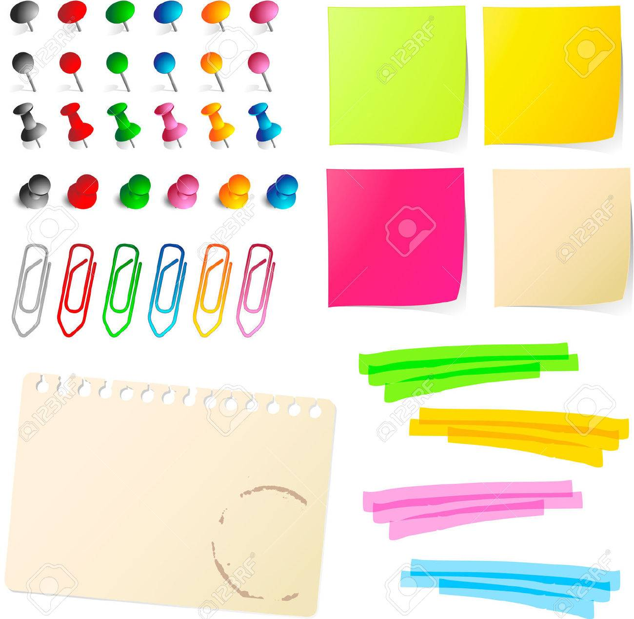 note papers  with pins and paper clips Stock Vector - 7072131