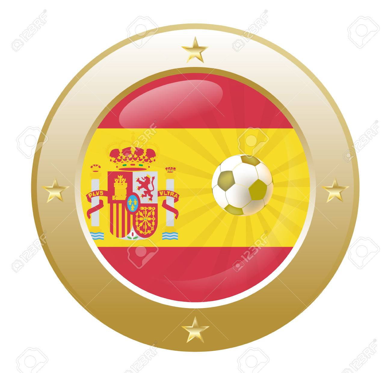 national flag of spain in circular shape with additional details Stock Vector - 7347337