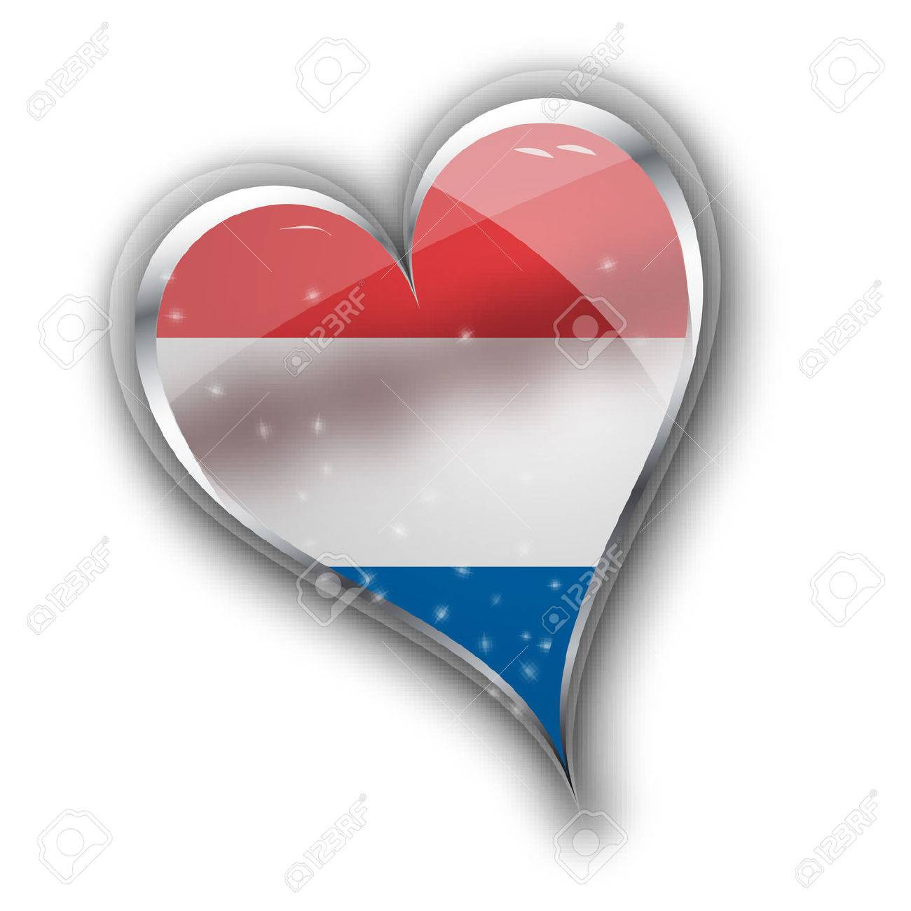 national flag of the netherlands holland in heart shape with
