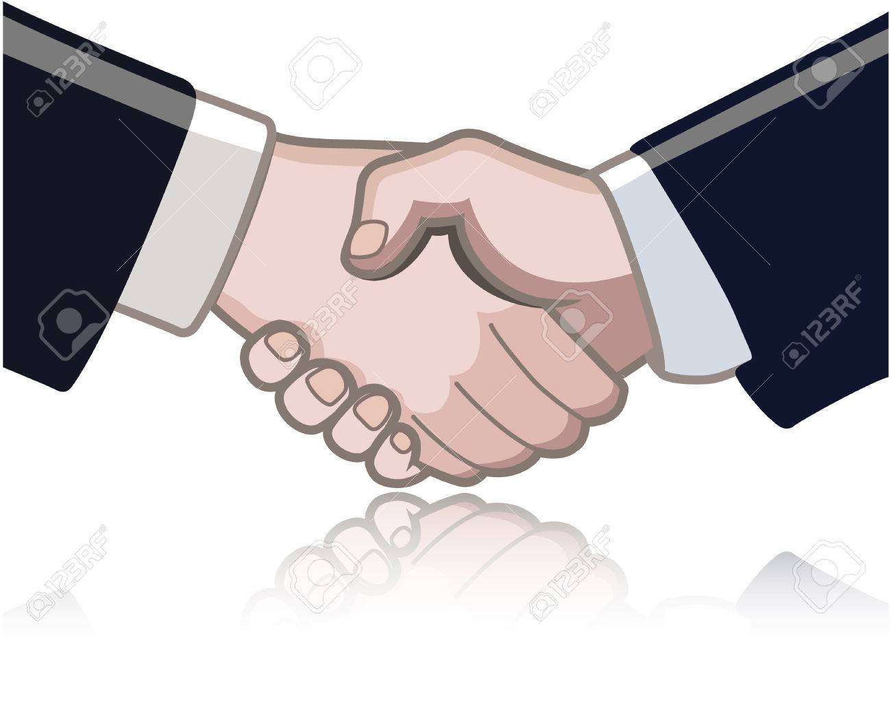 Hand shake between two persons isolated on white and a reflection underneath Stock Vector - 7394862