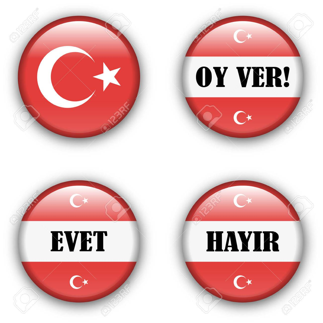 yes or no vote badge button for turkish referendum election Stock Vector - 7710932