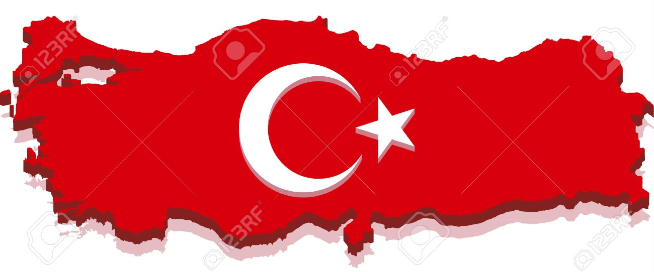 turkey map with turkish flag 3d isolated on white background