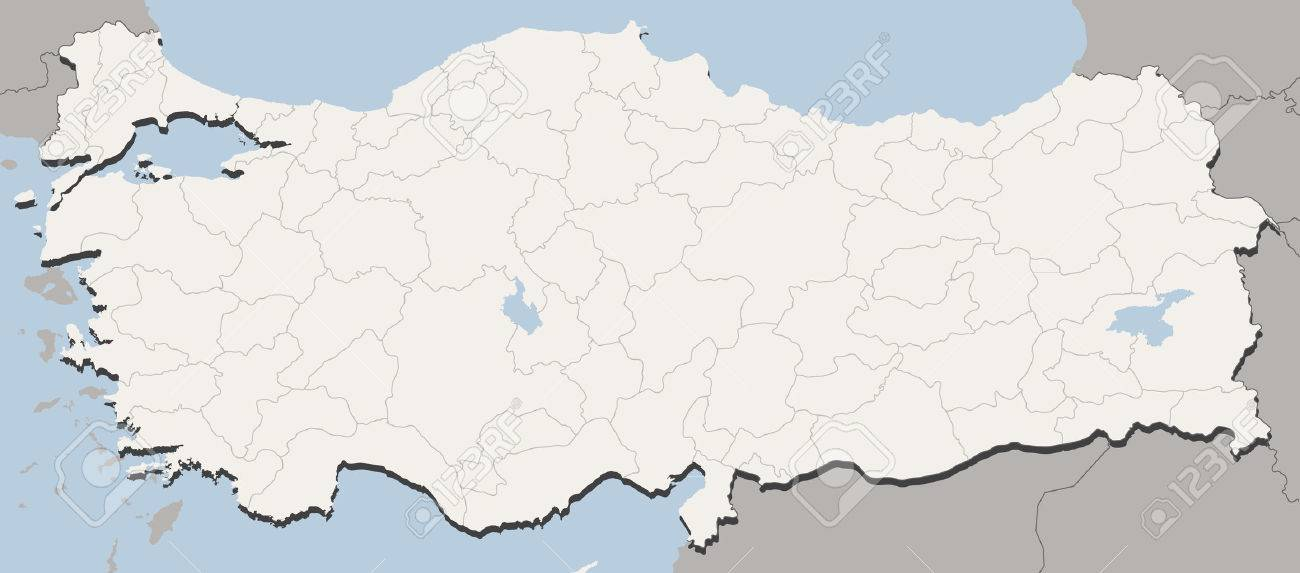 Detailed Vector illustration of map of Turkey with all 81 cities...