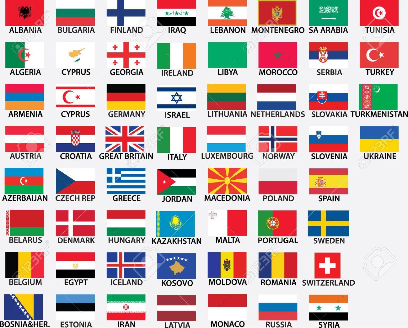 Super Nationale Vlaggen Van Alle Europese Landen, Hele Landen Opgenomen BZ-67