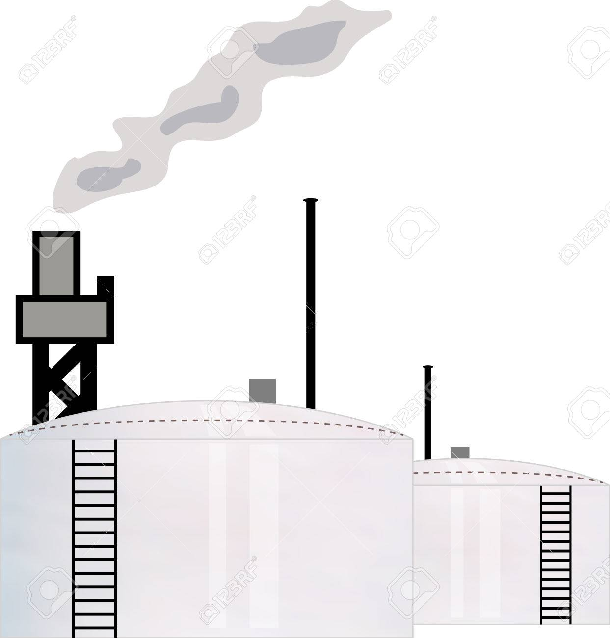 illustration concept for oil industry refinery with two storage tank Stock Vector - 7824495
