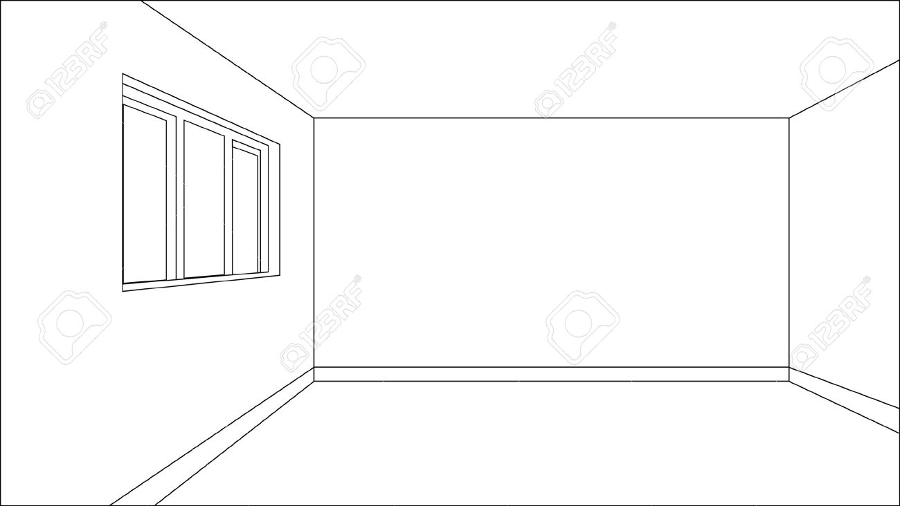 Virtual model room sketch with only outer lines of the shapes Stock Vector - 7824501