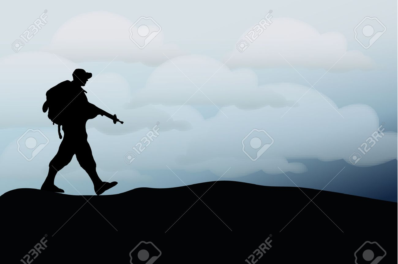 Silhouette of an army soldier walking on hills against blue sky Stock Vector - 7824517