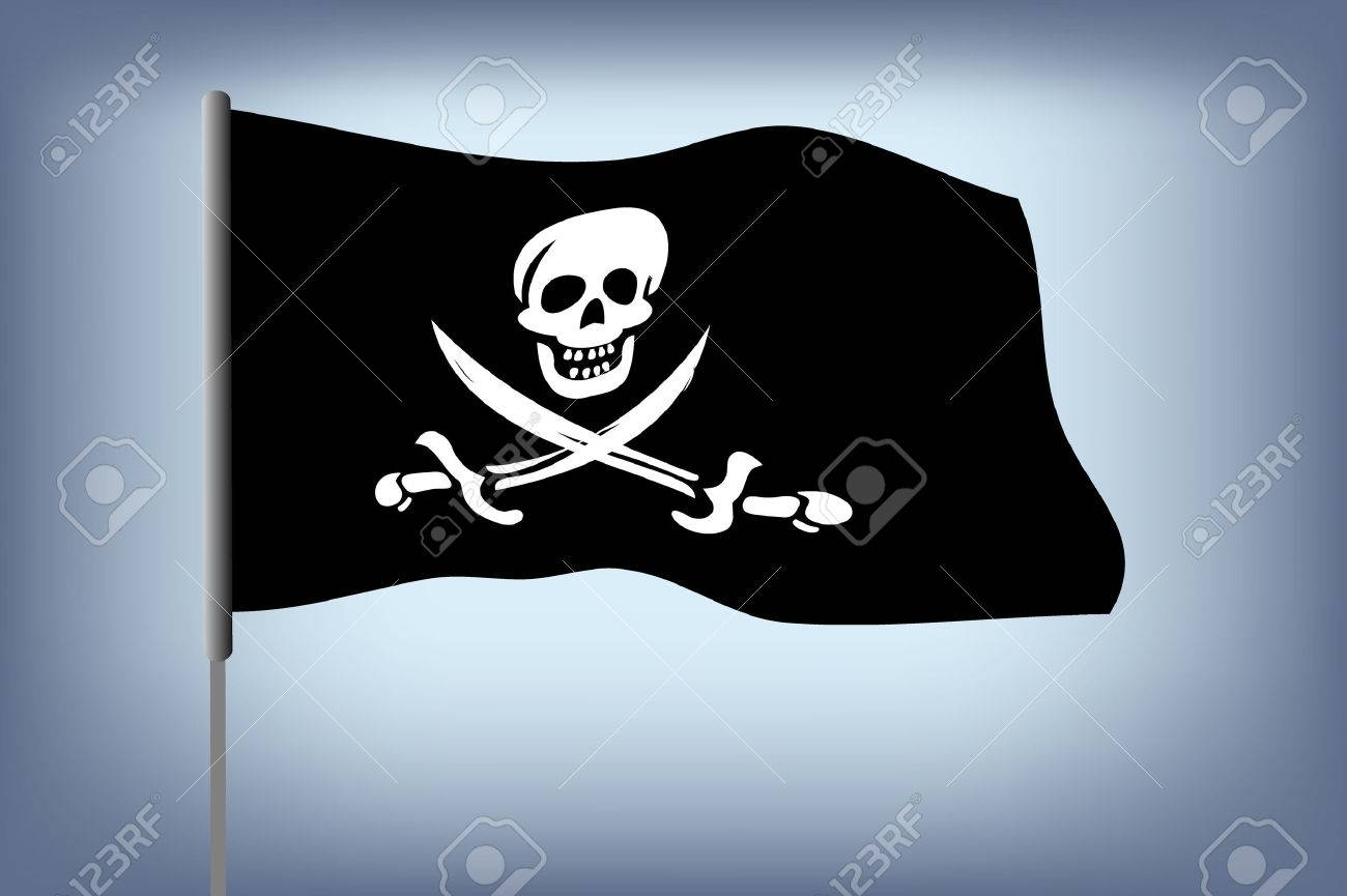 illustraion of pirate flag with white skull over blue background Stock Vector - 7824537