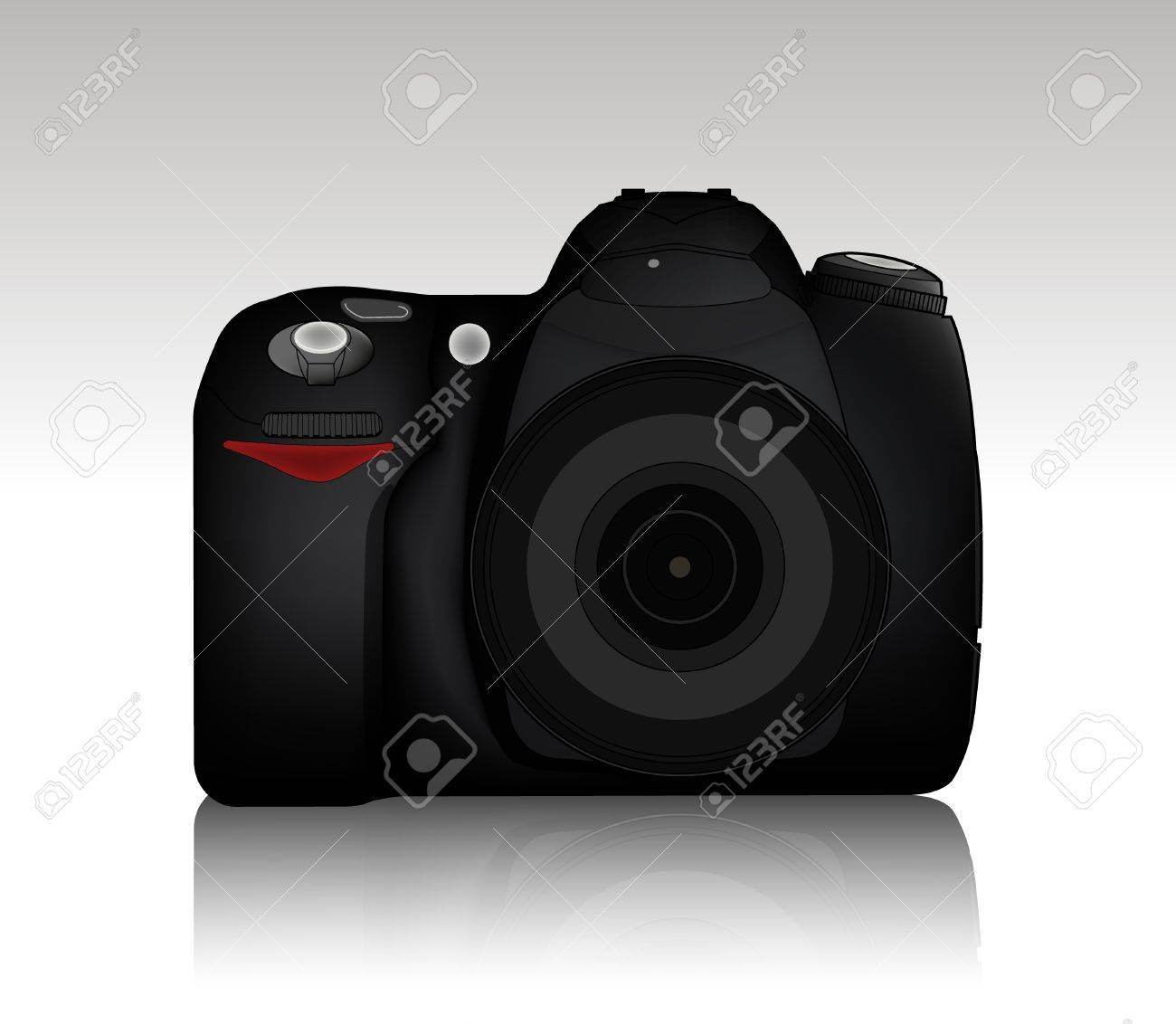 Isolated DSLR camera from front side with lens and built in flash Stock Vector - 7908759