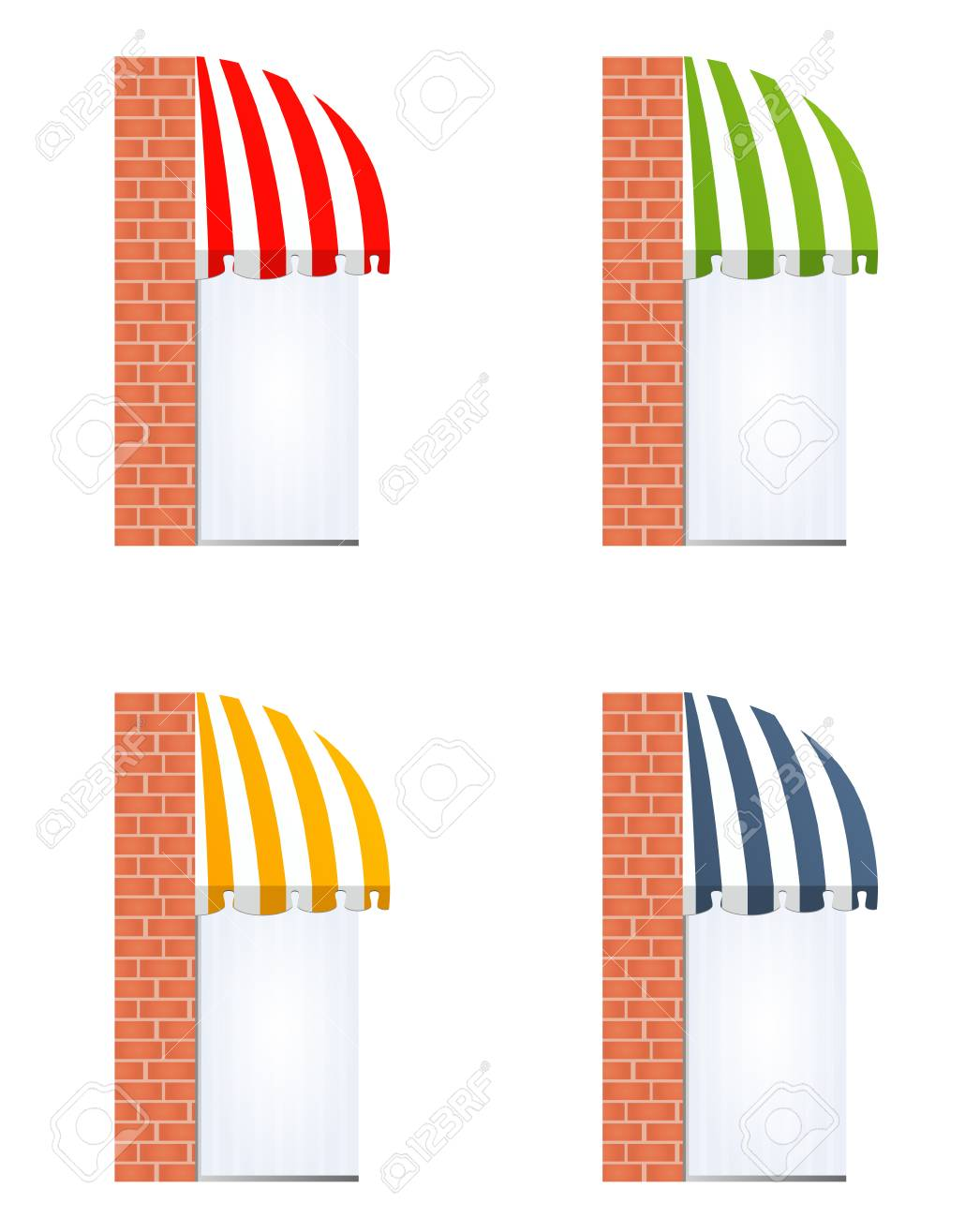 illustration of four different colored awnings Stock Vector - 7998066