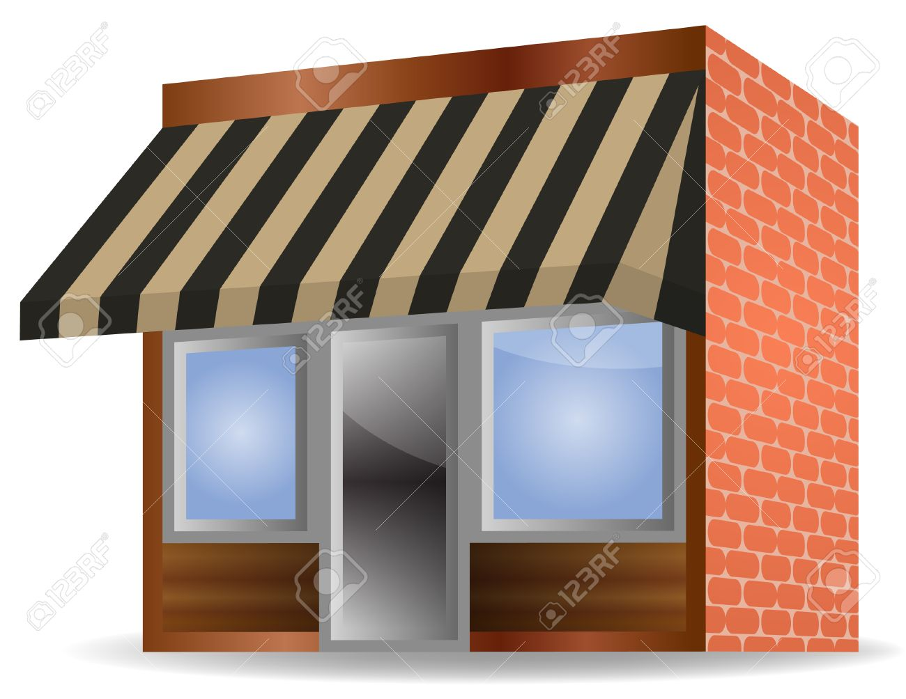 Illustration Of Store Front Awning On White Background Stock Vector